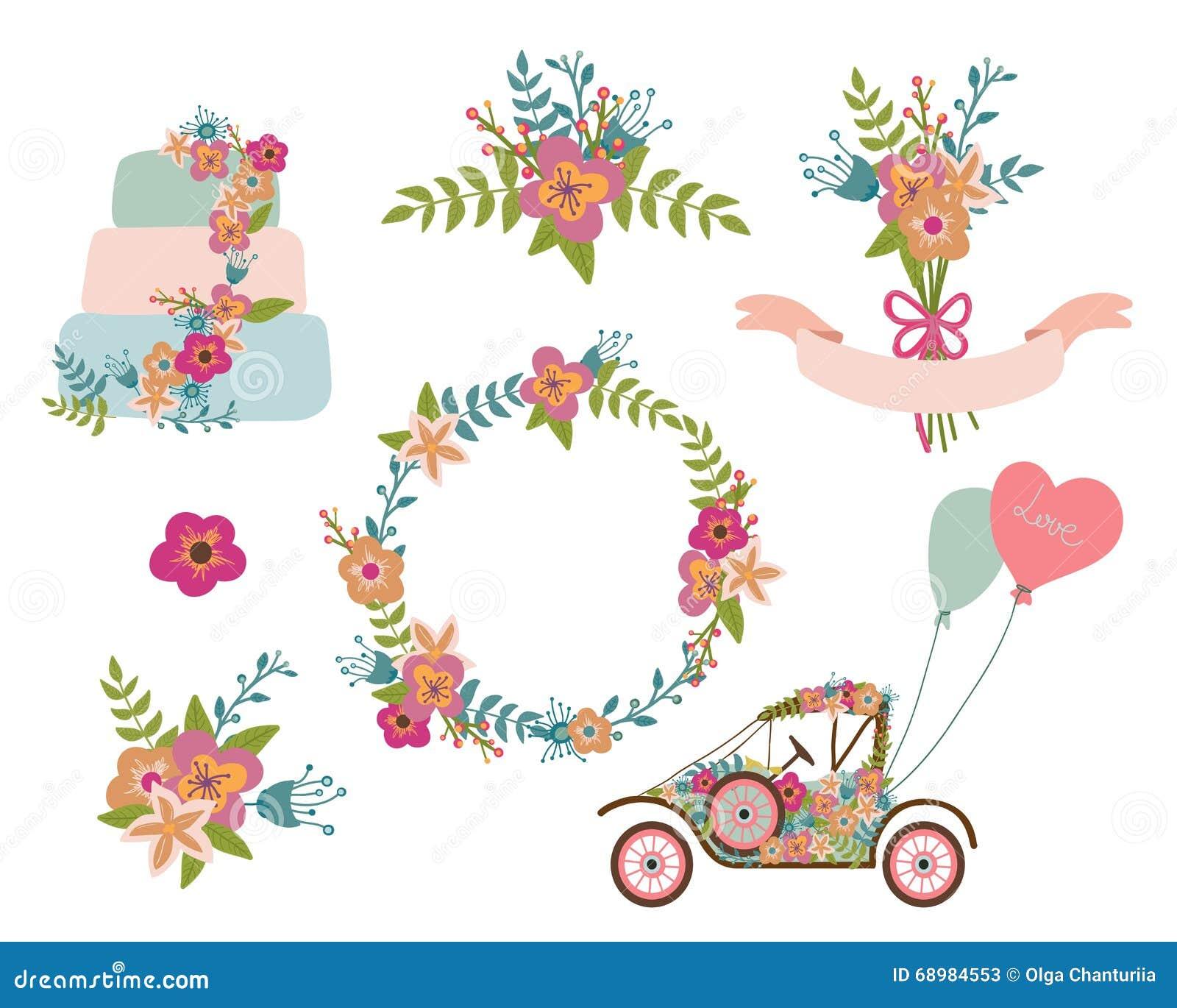 Hochzeitssammlung Kranz Blumen Retro Auto Hochzeitstorte Vektor