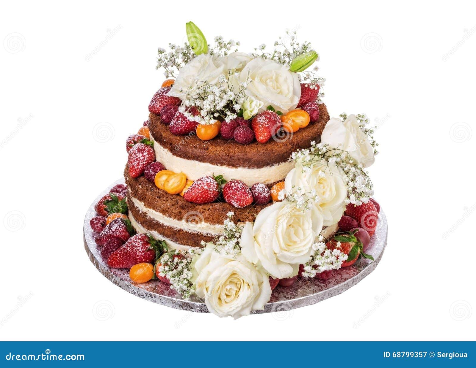 Hochzeitstorte Gemacht Von Den Blumenrosen Und Frucht Stockbild