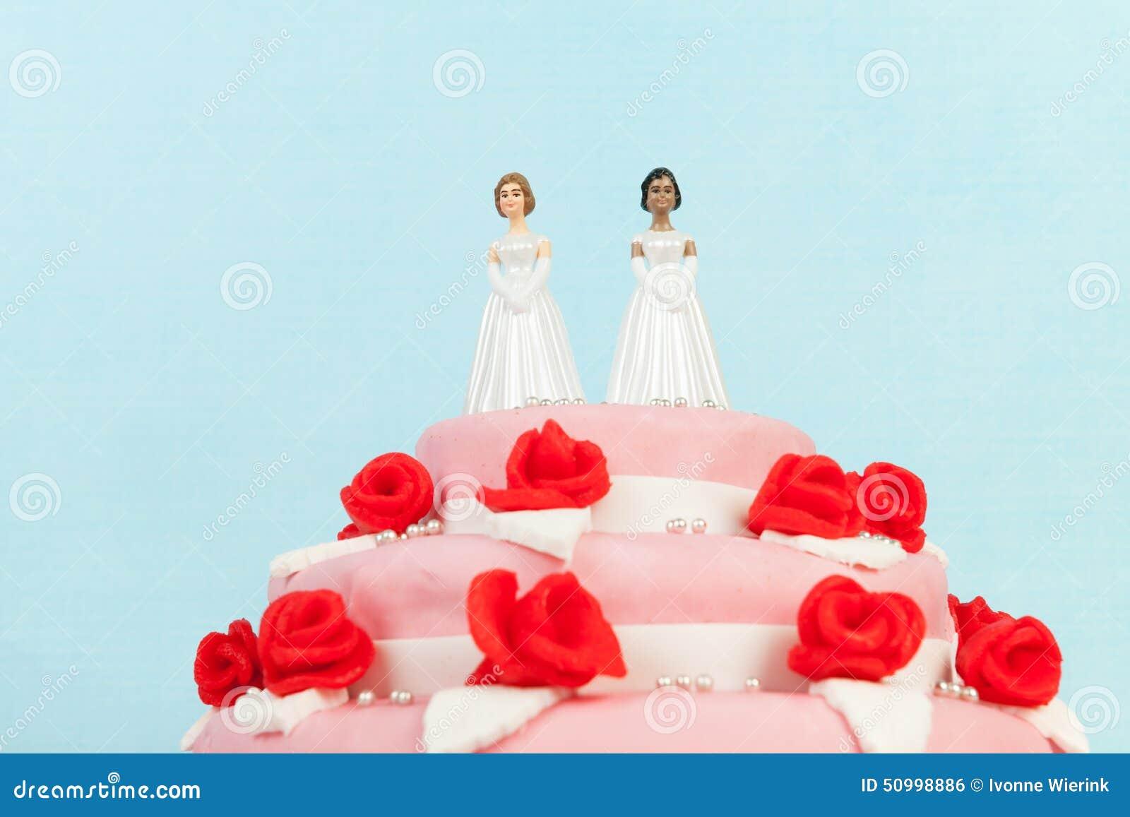 Hochzeitstorte Mit Lesbischen Paaren Stockfoto Bild Von Essbar