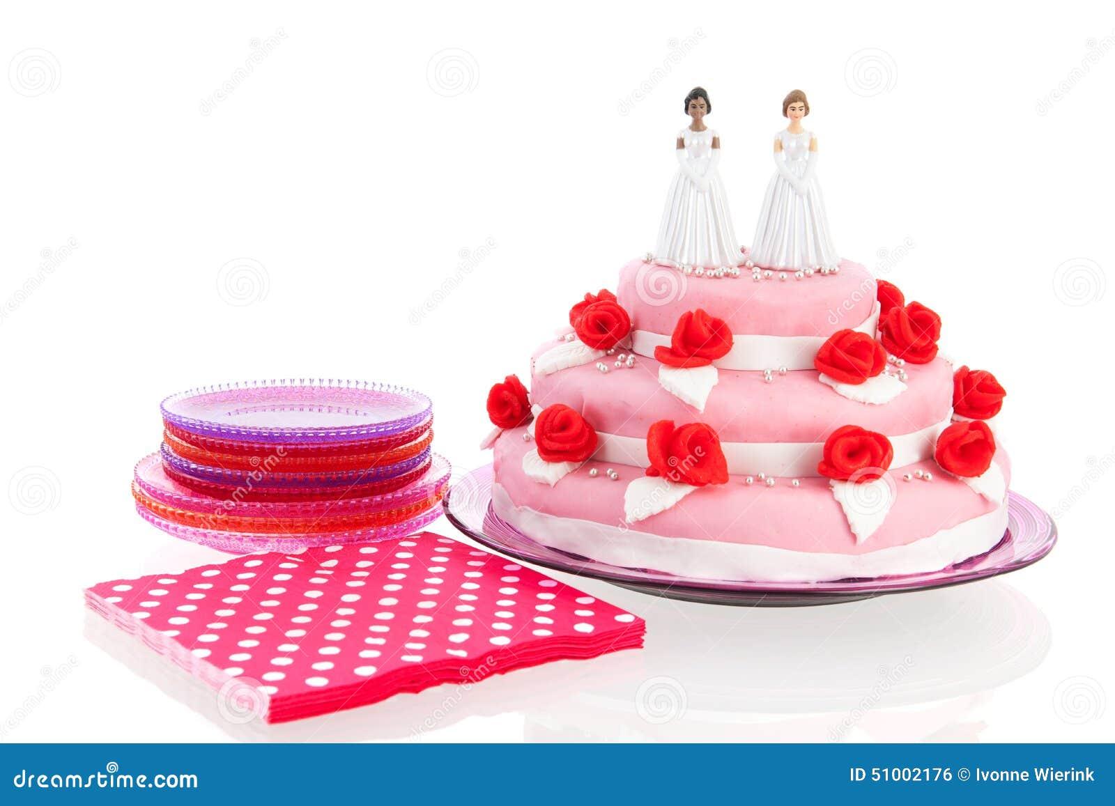Hochzeitstorte Mit Lesbischen Paaren Stockfoto Bild Von Lesbier