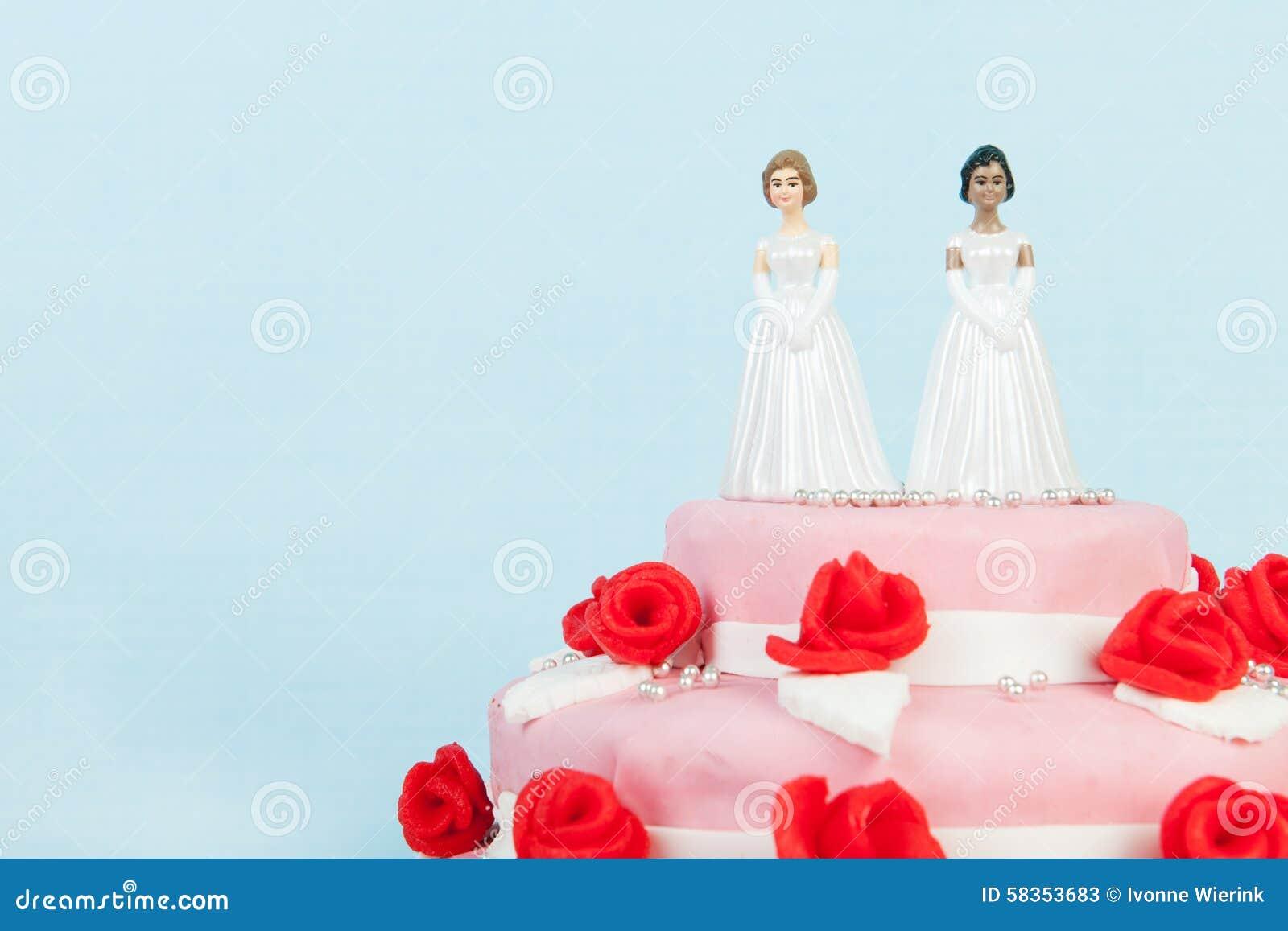 Hochzeitstorte Mit Lesbischen Paaren Stockbild Bild Von Rosen