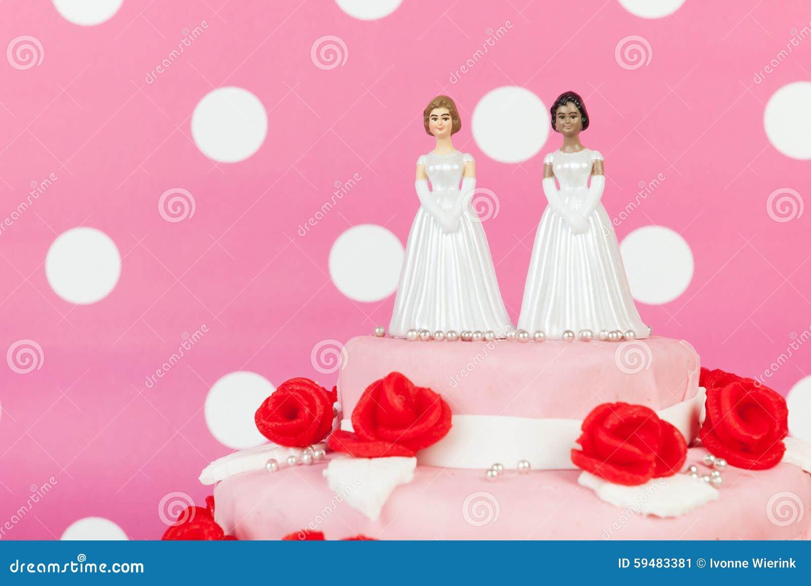 Hochzeitstorte Mit Lesbischen Paaren Stockbild Bild Von Lesbier