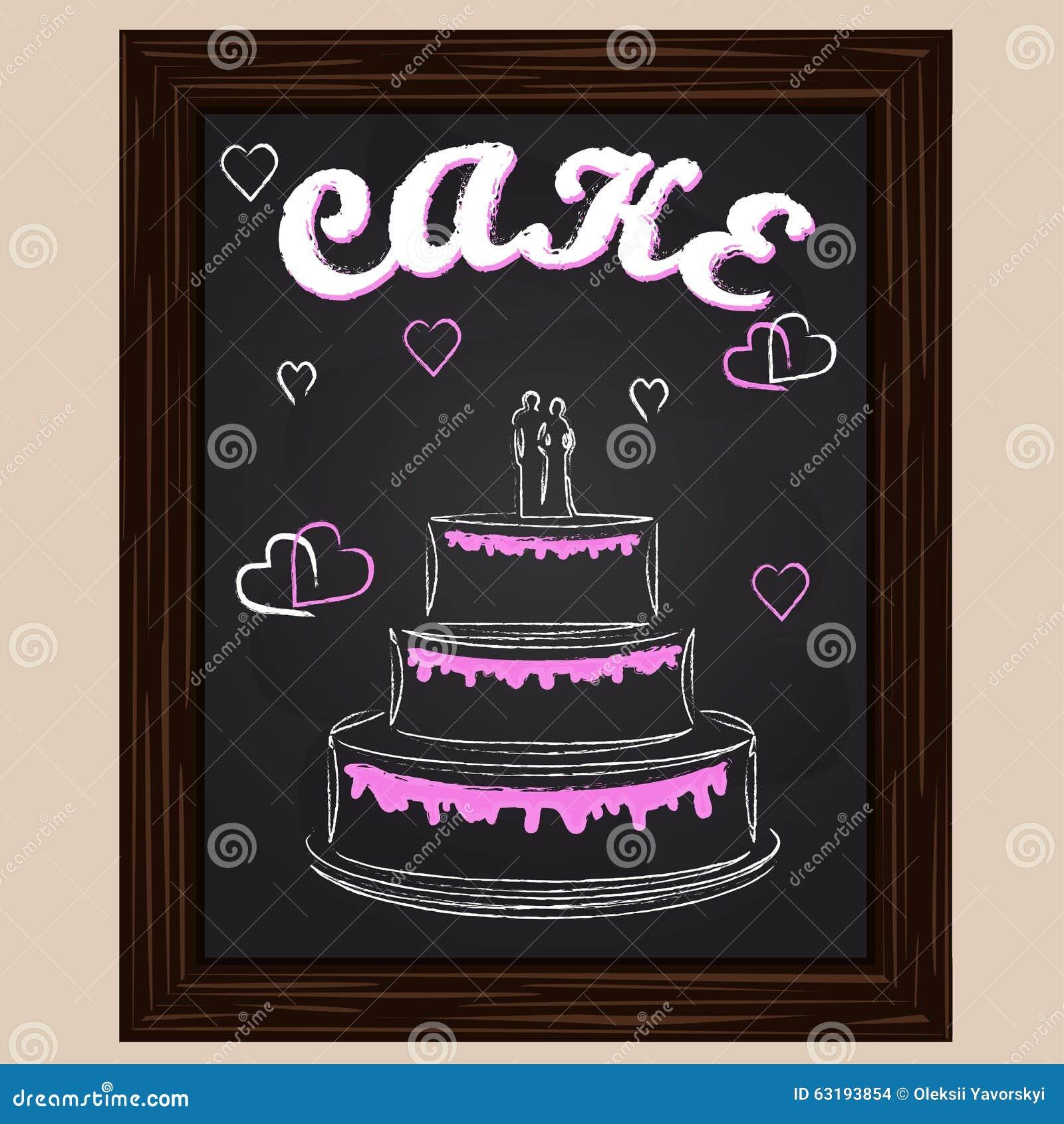 Hochzeitstorte Mit Rosa Herzen Vektor Abbildung Illustration Von