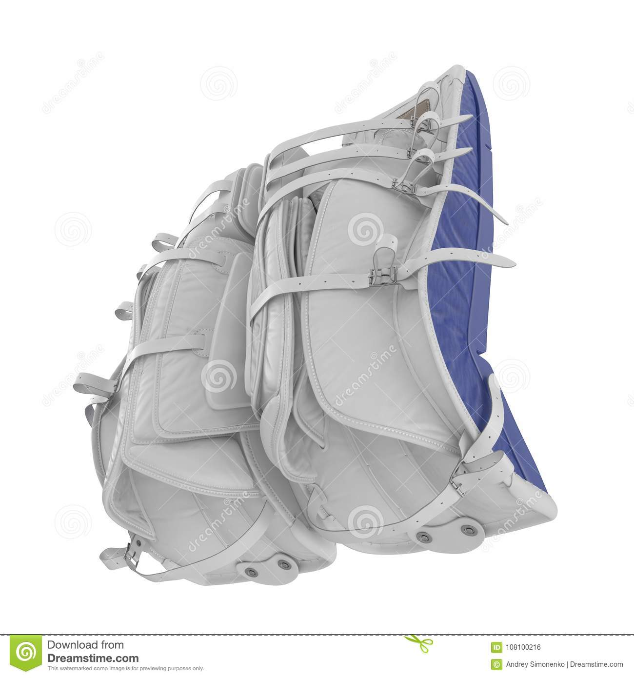 Hockey Goalie Leg Pads On White  3D Illustration Stock Illustration