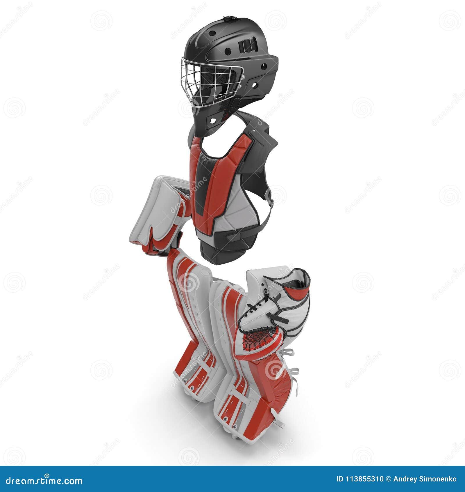 Hockey Goalie Protection Kit On White 3d Illustration Stock