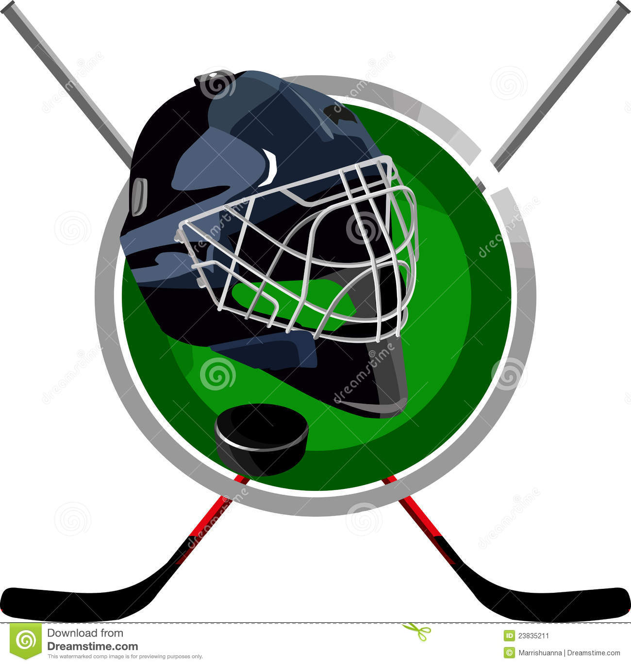 Logo hockey puck is a round helmet in the form of sticks.