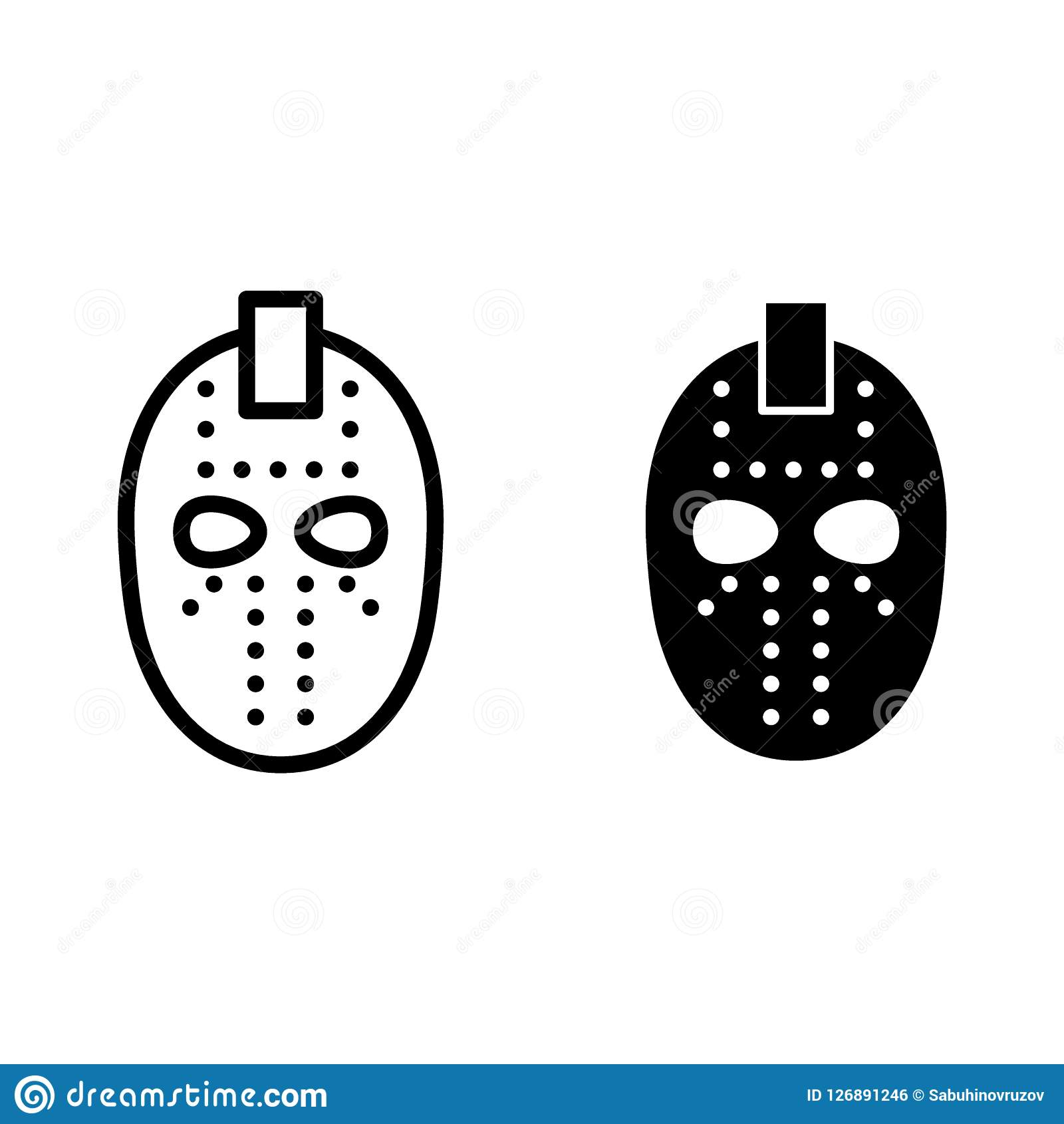 Hockey Mask Line And Glyph Icon Goalie Mask Vector Illustration