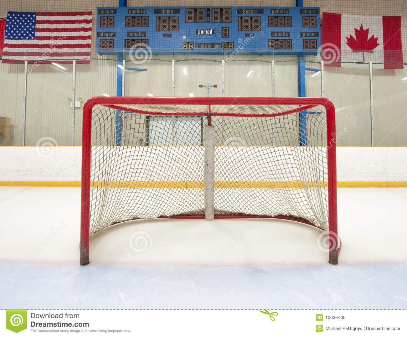 Hockey Net With Scoreboard Royalty Free Stock Photo - Image: 10039405