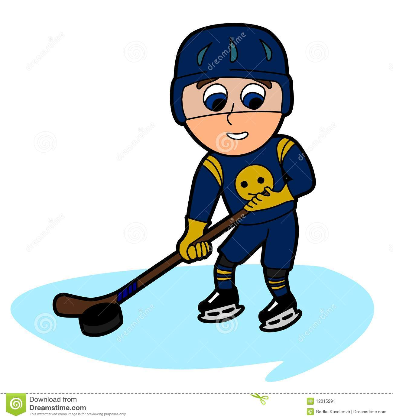 cartoon man in hockey form on skates with a stick Stock