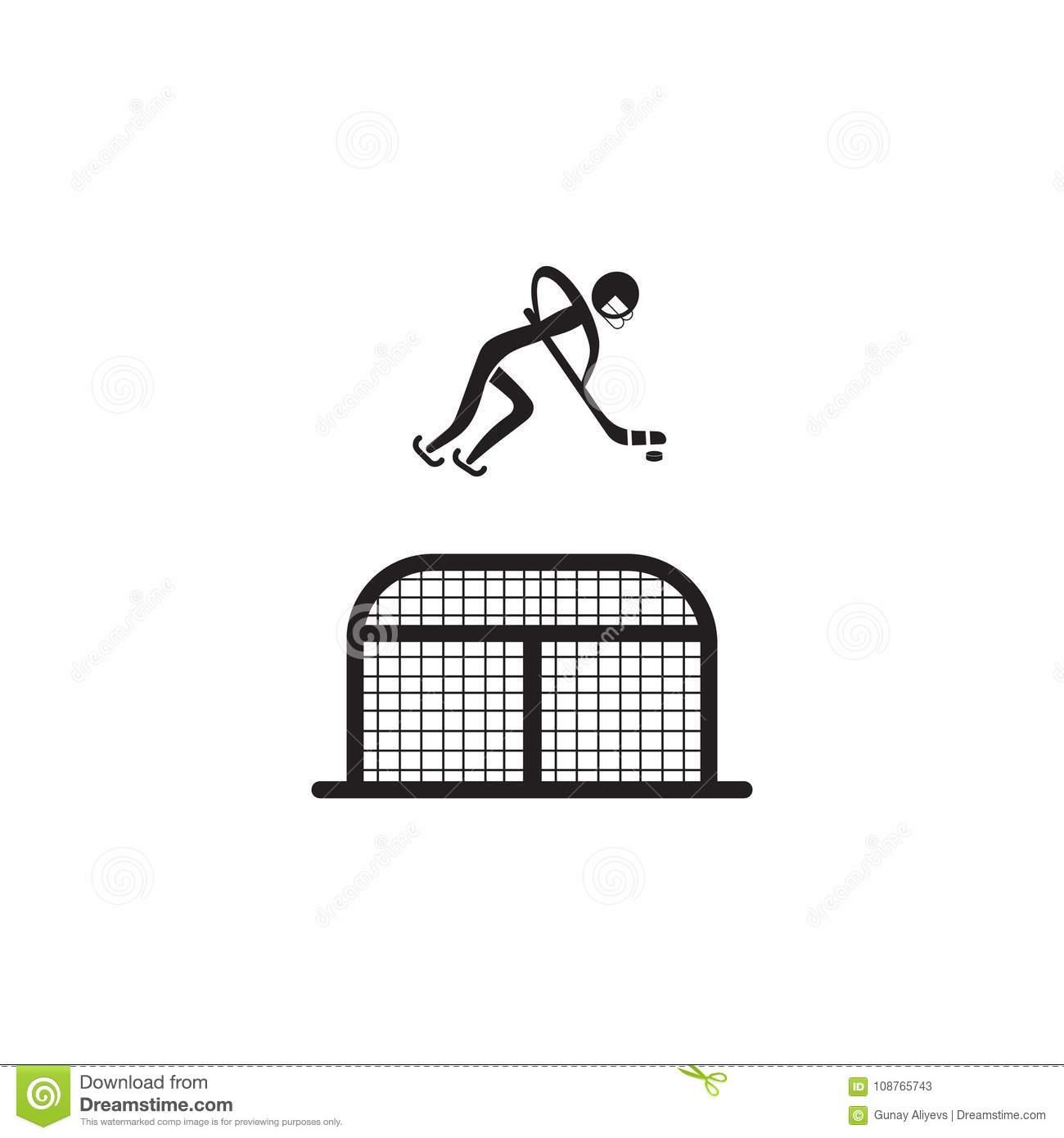 hockey player in front of the gate icon. Element of figures of sportsman icon. Premium quality graphic design icon. Signs, symbols