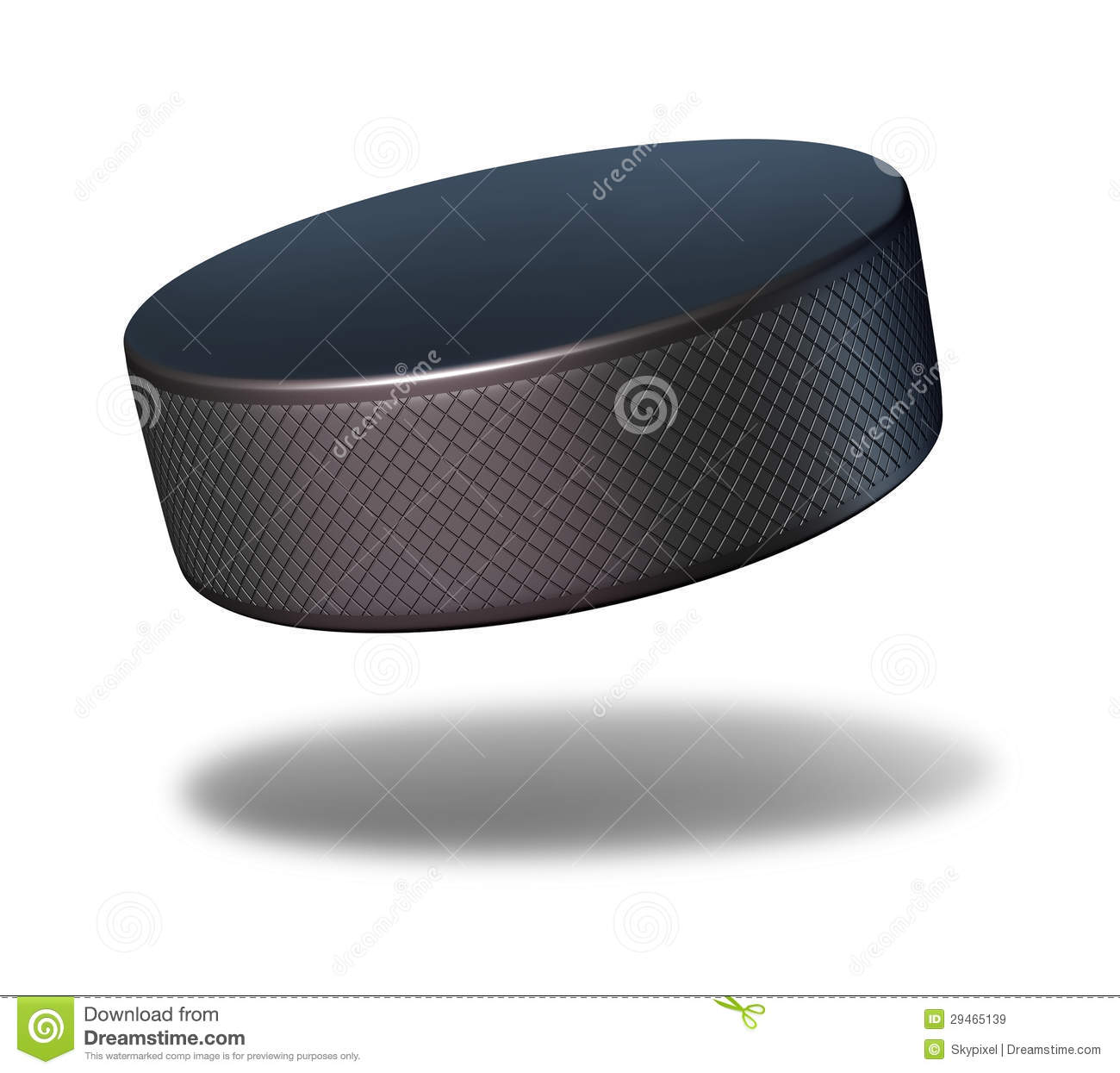 Hockey puck sport equipment flying in mid air on a white background as ...