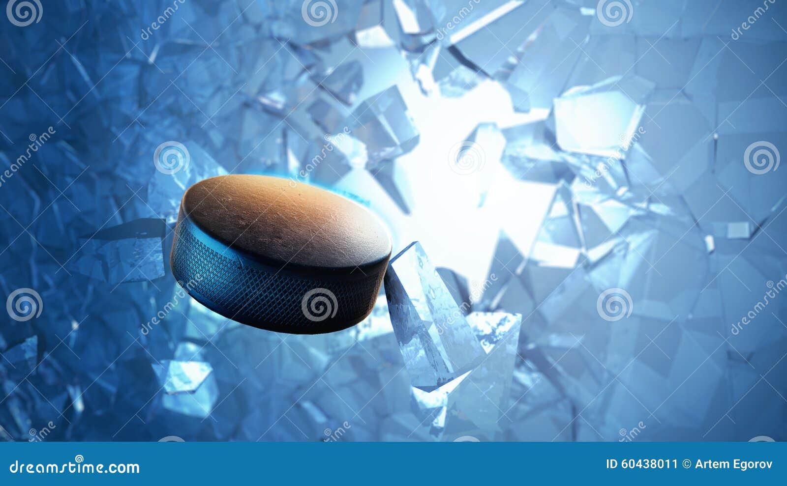 Hockey-Puck gesprengt durch Eis
