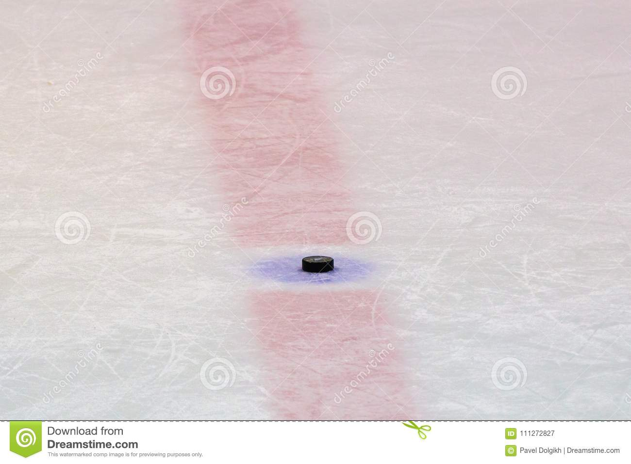 Hockey puck on ice stadium