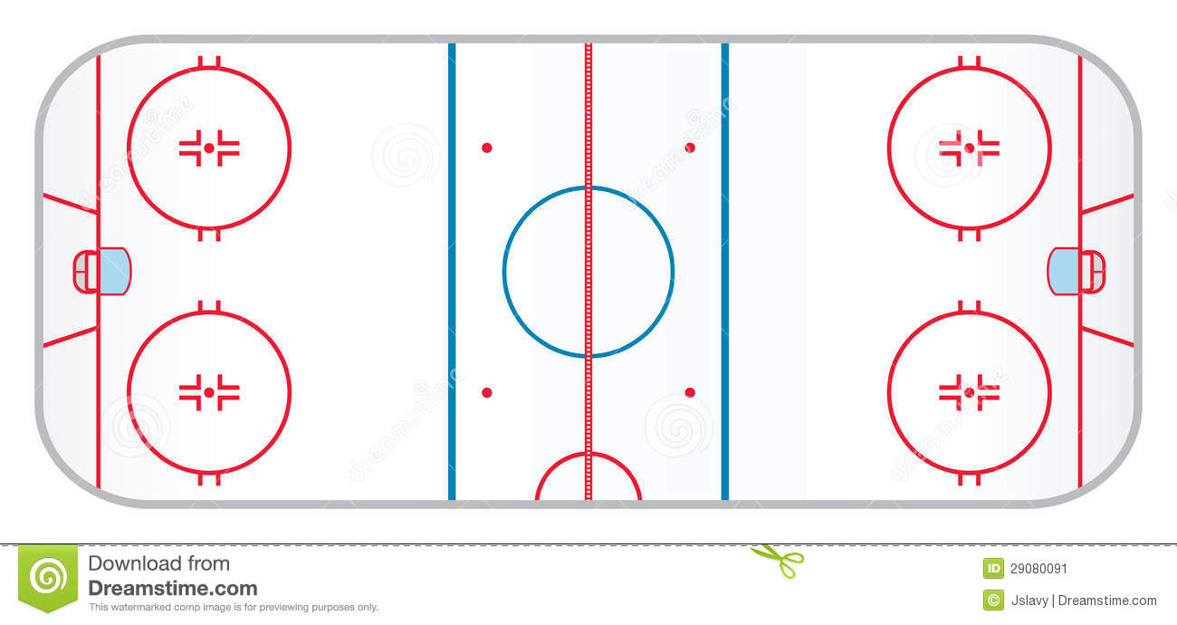 hocky rink with realistic markings like the ones used in the ...