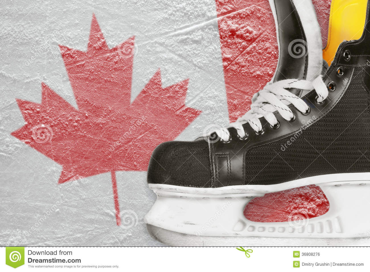 Hockey Skates And Canadian Flag Stock Photo Image Of Brown Shoes