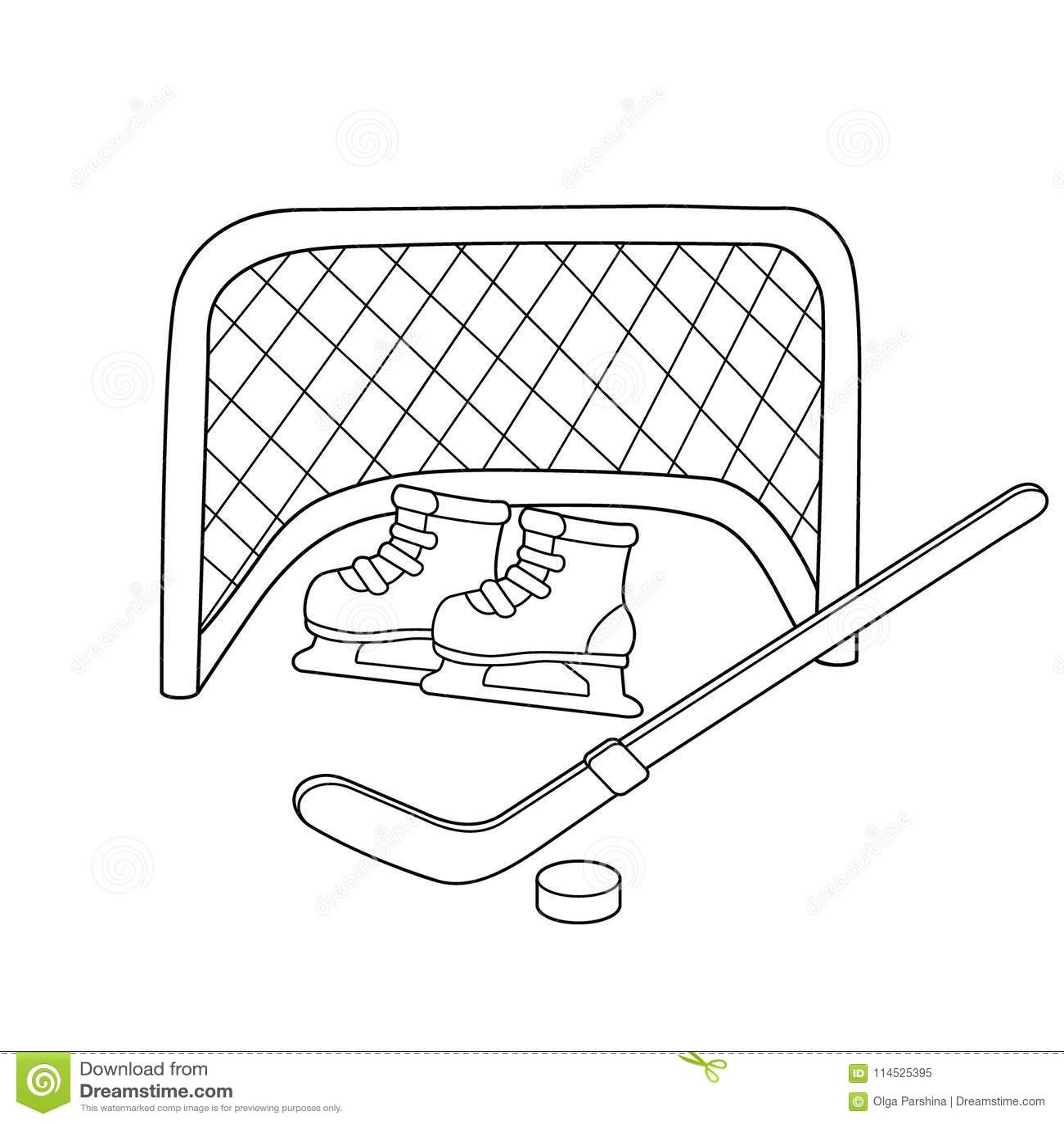 Hockey. Skates. Hockey Stick. Winter Sports. Coloring Book For Kids ...