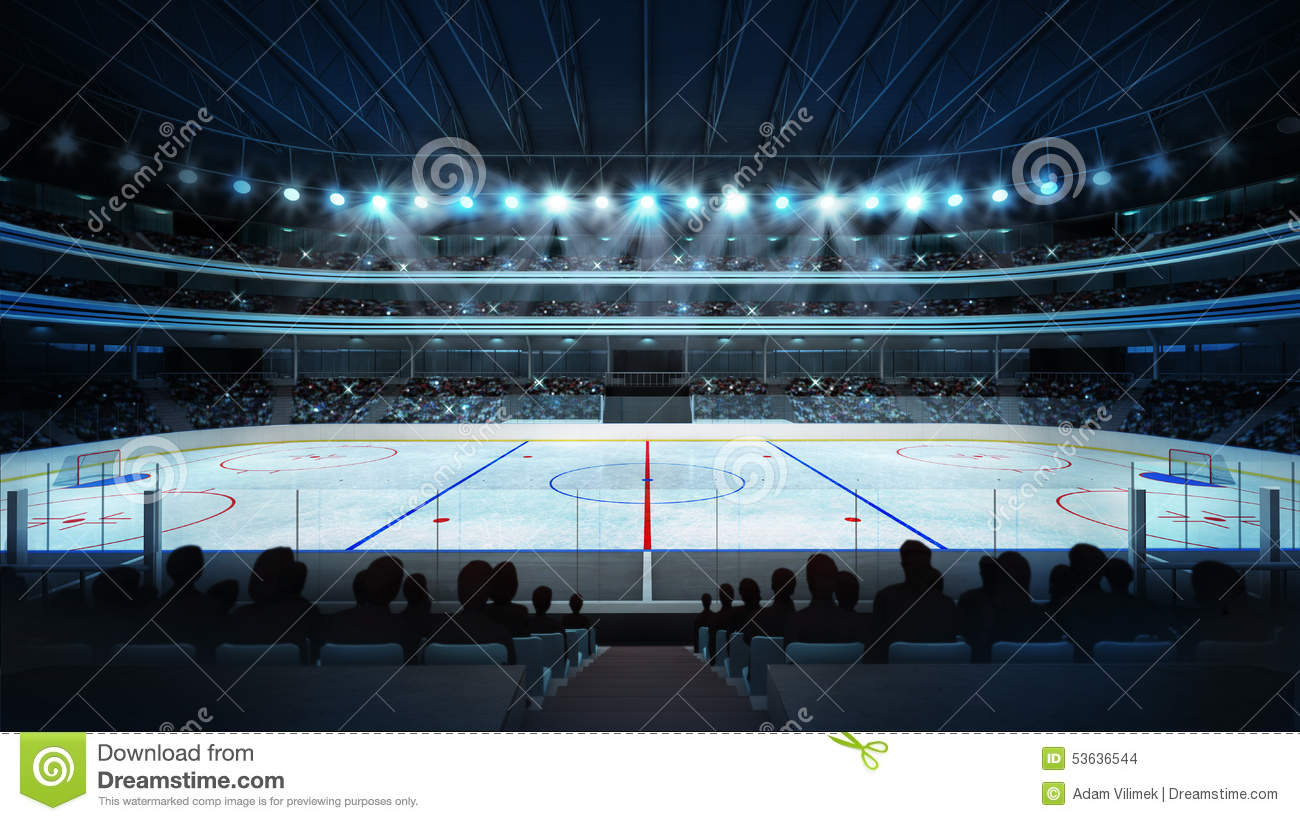 hockey stadium with fans and an empty ice rink stock illustration