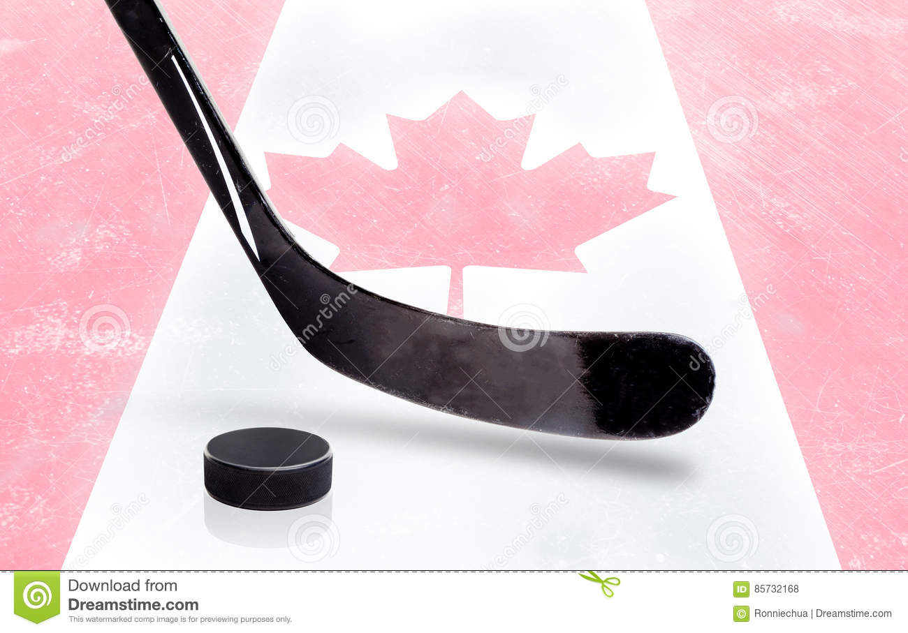 Hockey Stick And Puck With Canadian Flag On Ice Stock Photo Image