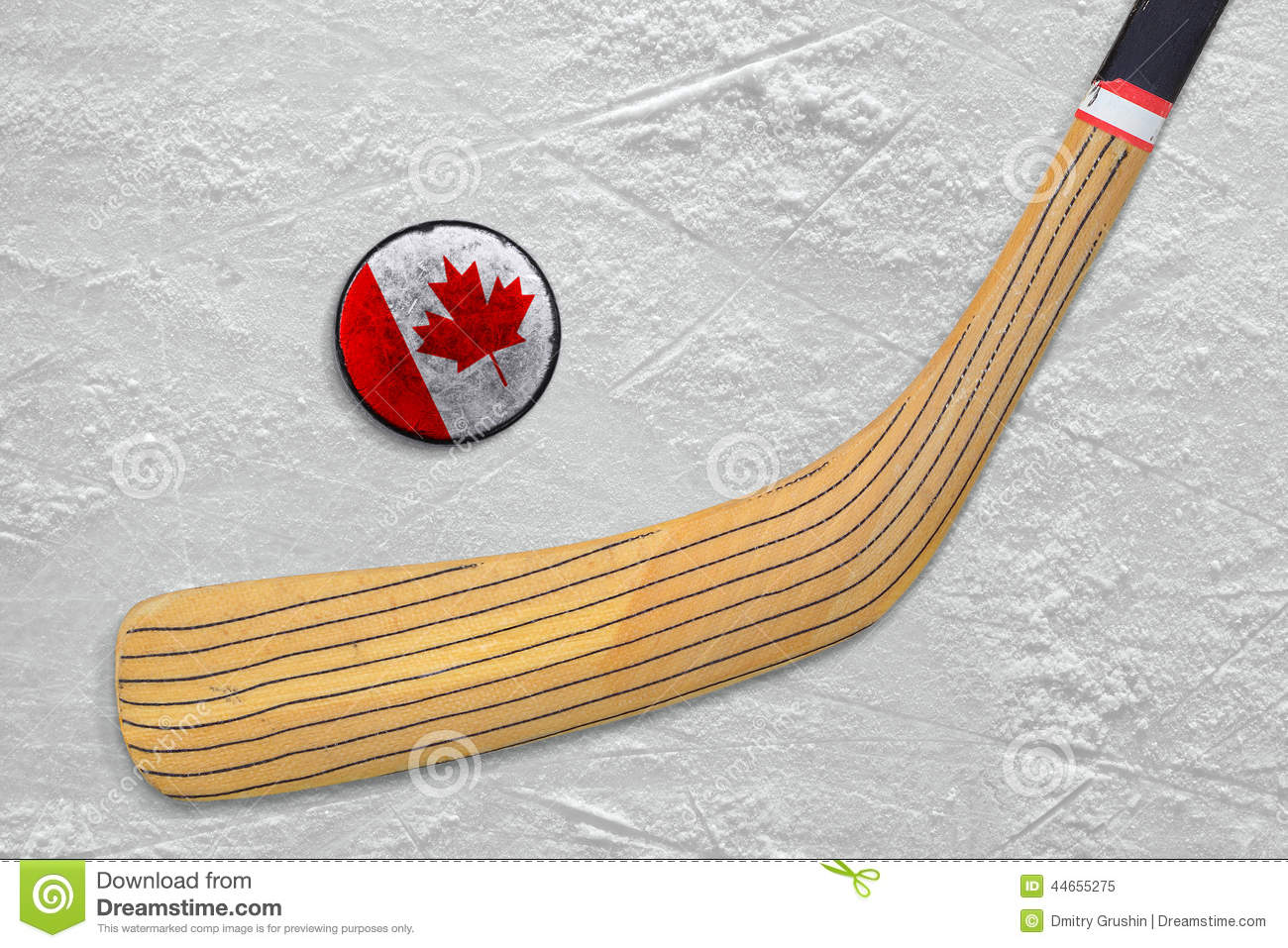 Hockey Stick And Puck On The Canadian Hockey Rink Stock Image