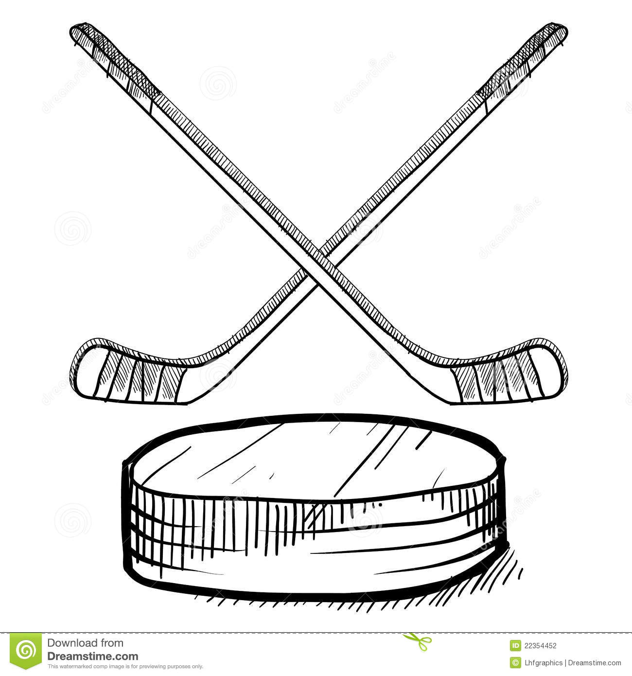 Hockey Stick And Puck Sketch Stock Photography Image