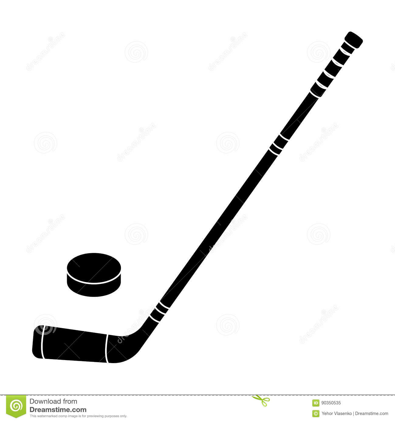 Hockey Stick And Washer Canada Single Icon In Black Style Vector