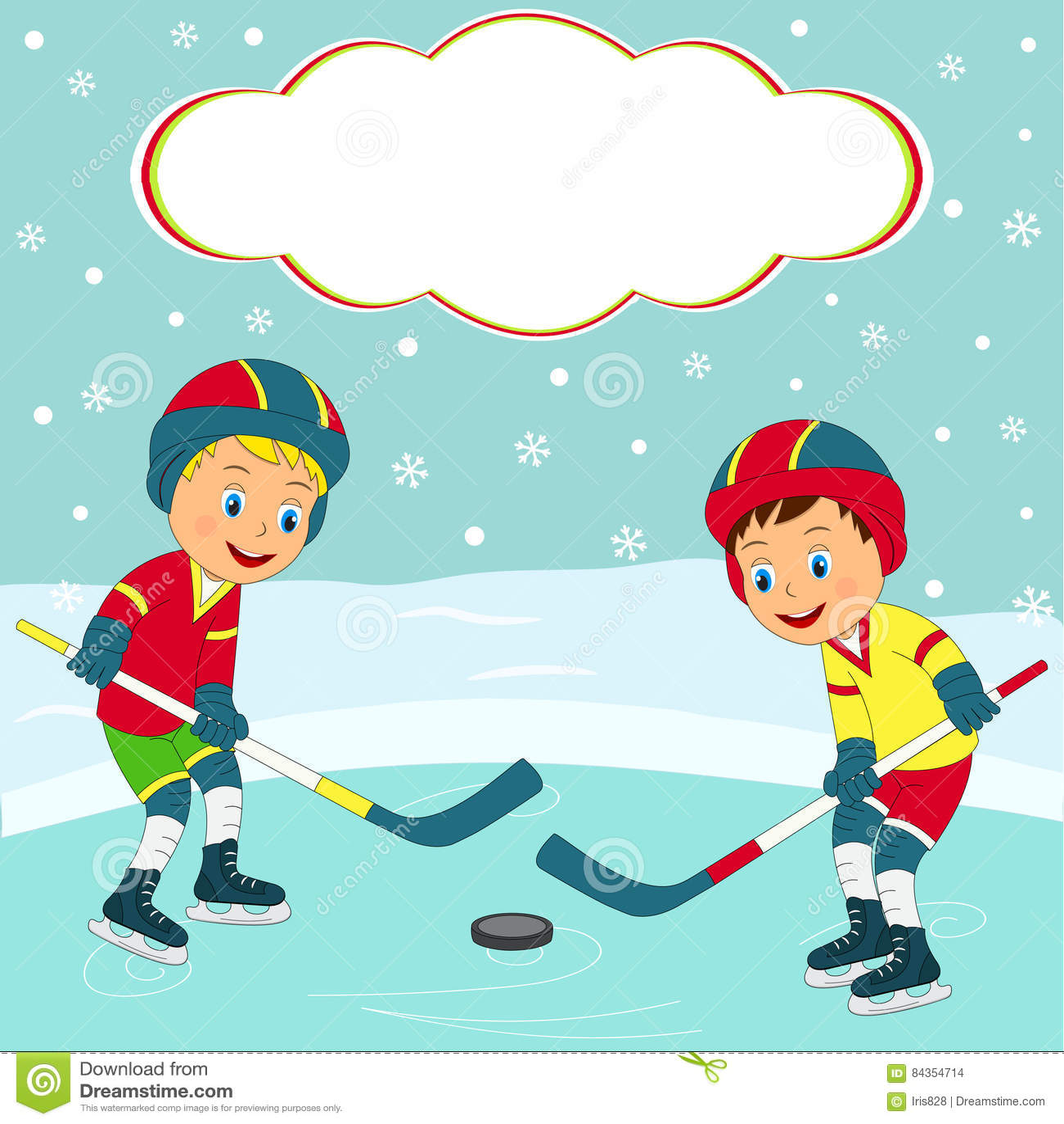 Hockey su ghiaccio del gioco di due ragazzi