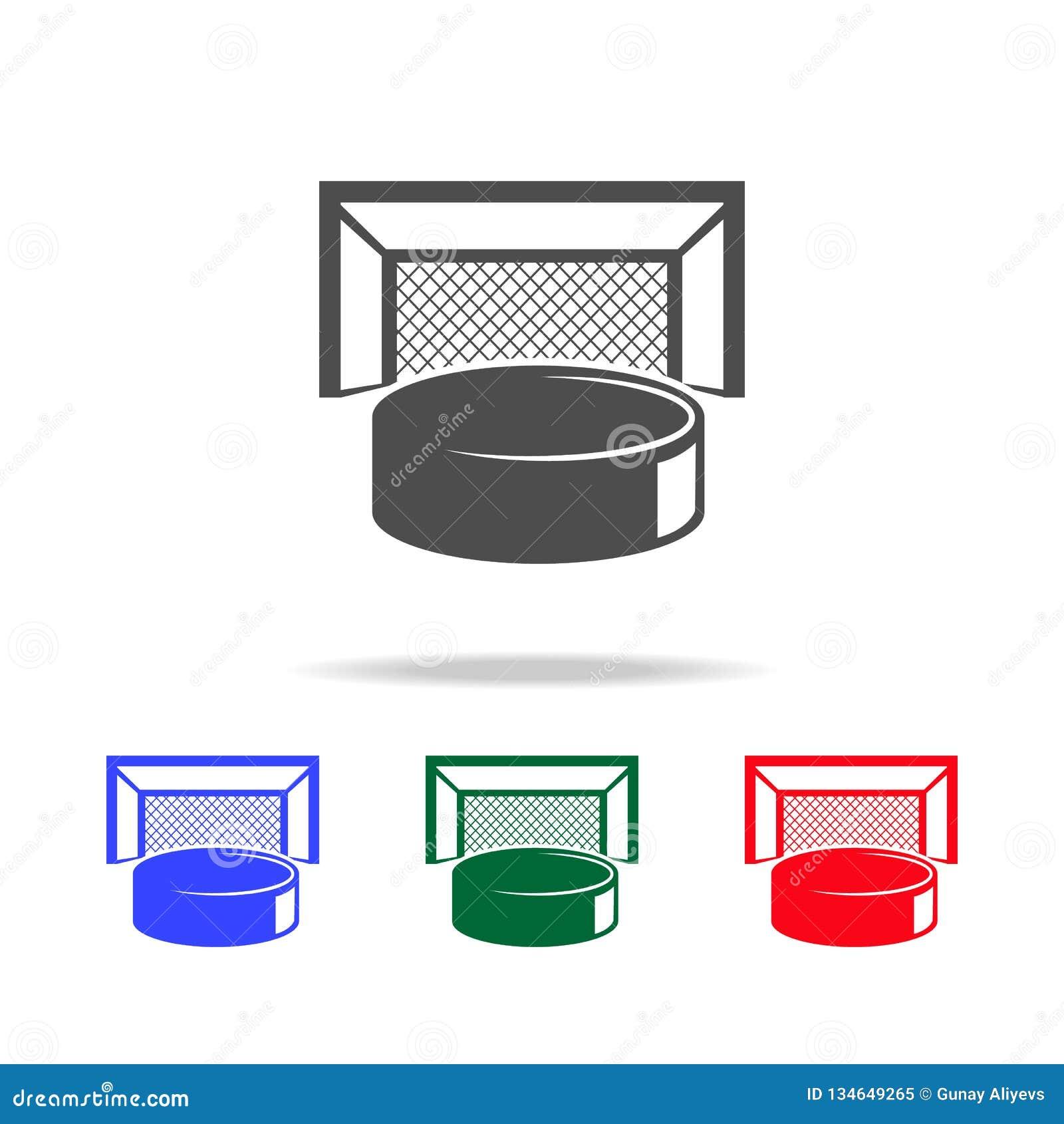 Hockeypuck och portsymboler Beståndsdelar av sportbeståndsdelen i mång- kulöra symboler Högvärdig kvalitets- symbol för grafisk d