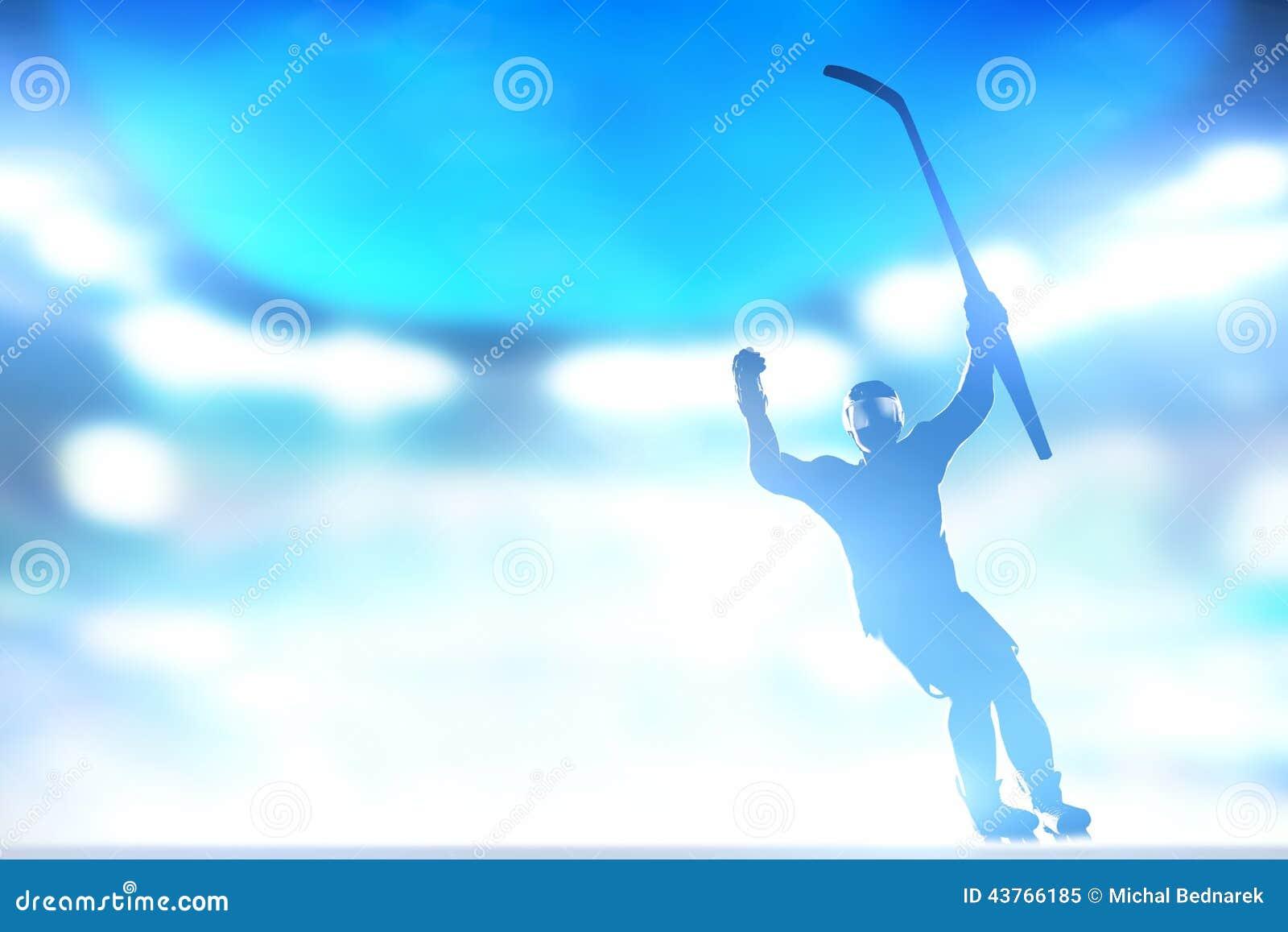 Hockeyspelaren som firar målet, seger med händer och, klibbar upp