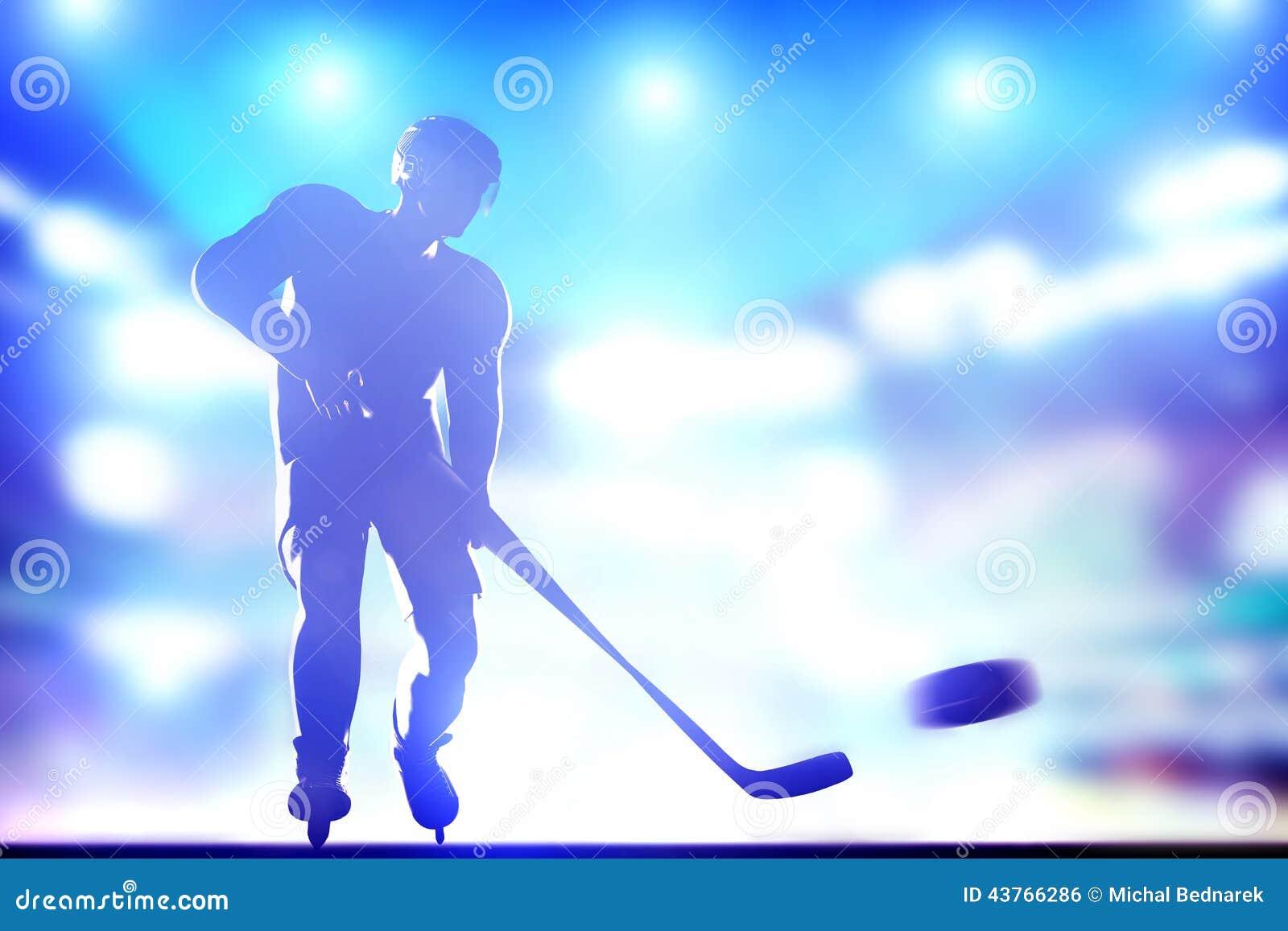 Hockeyspeler die op doel in arenanacht ligh schieten