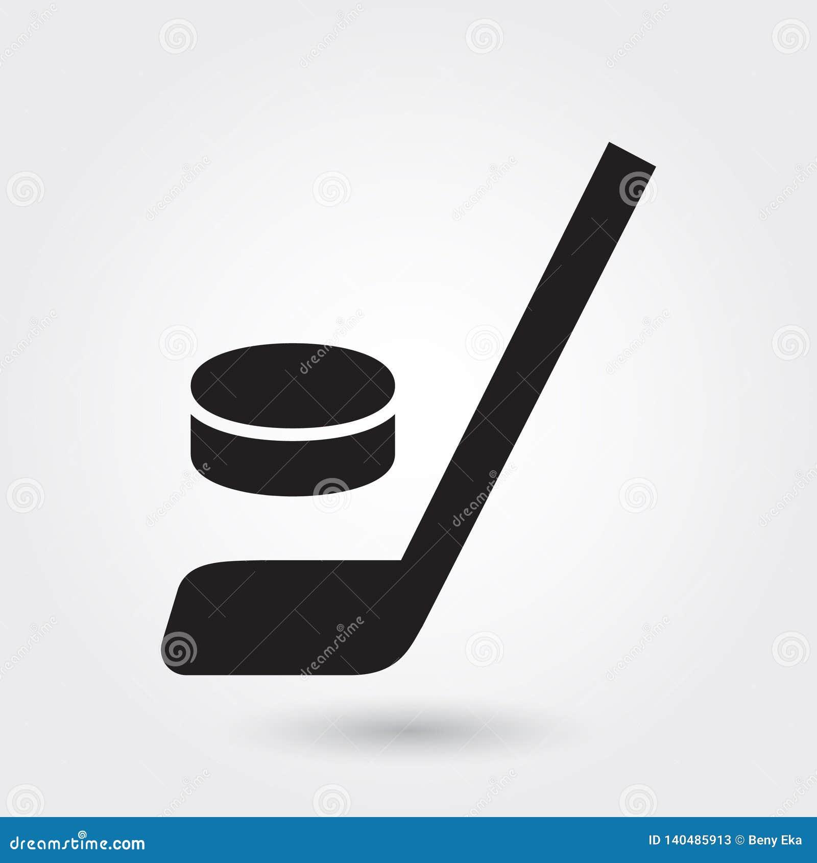 Hockeyvektorikone, Hockeyschlägerikone, Hockeysportsymbol Moderner, einfacher Glyph, feste Vektorillustration