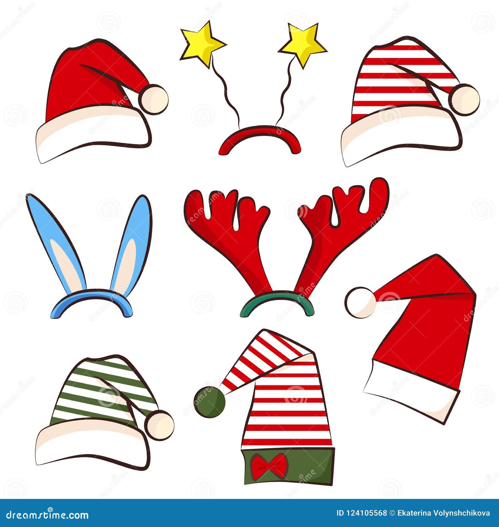 Hoed van de Kerstmis de heldere partij Reeks voor Kerstmispartij van de fotocabine Geweitak, ster en sterhoed Traditionele santa