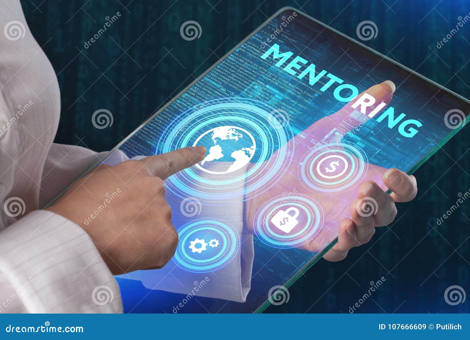 Hoede bedrijfsconcept De mentor toont virtueel etiket met tekst