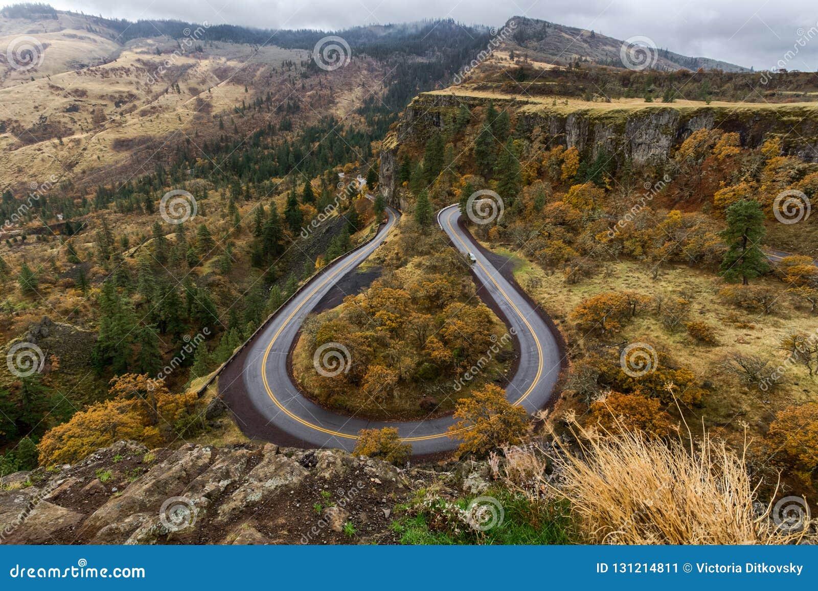 Hoefijzerweg in Rowena Crest, Oregon