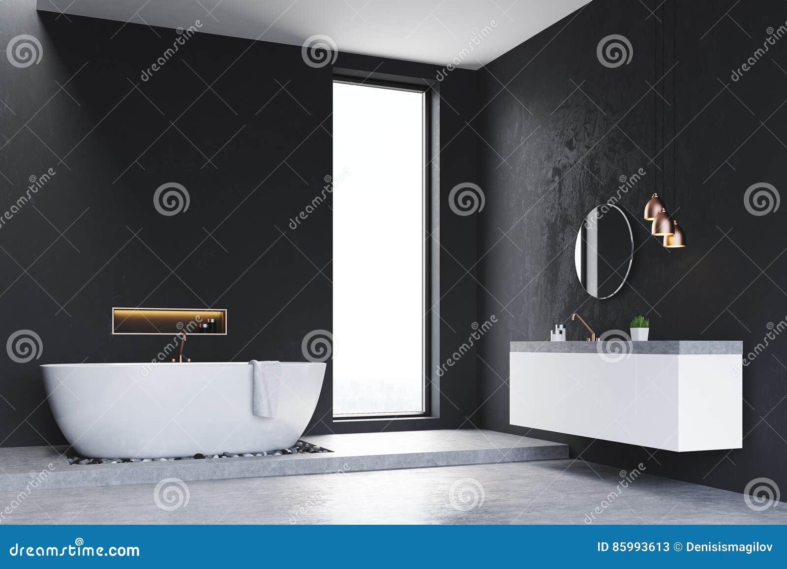 Hoek Wasbak Badkamer : Hoek van badkamers met venster en gootsteen stock illustratie