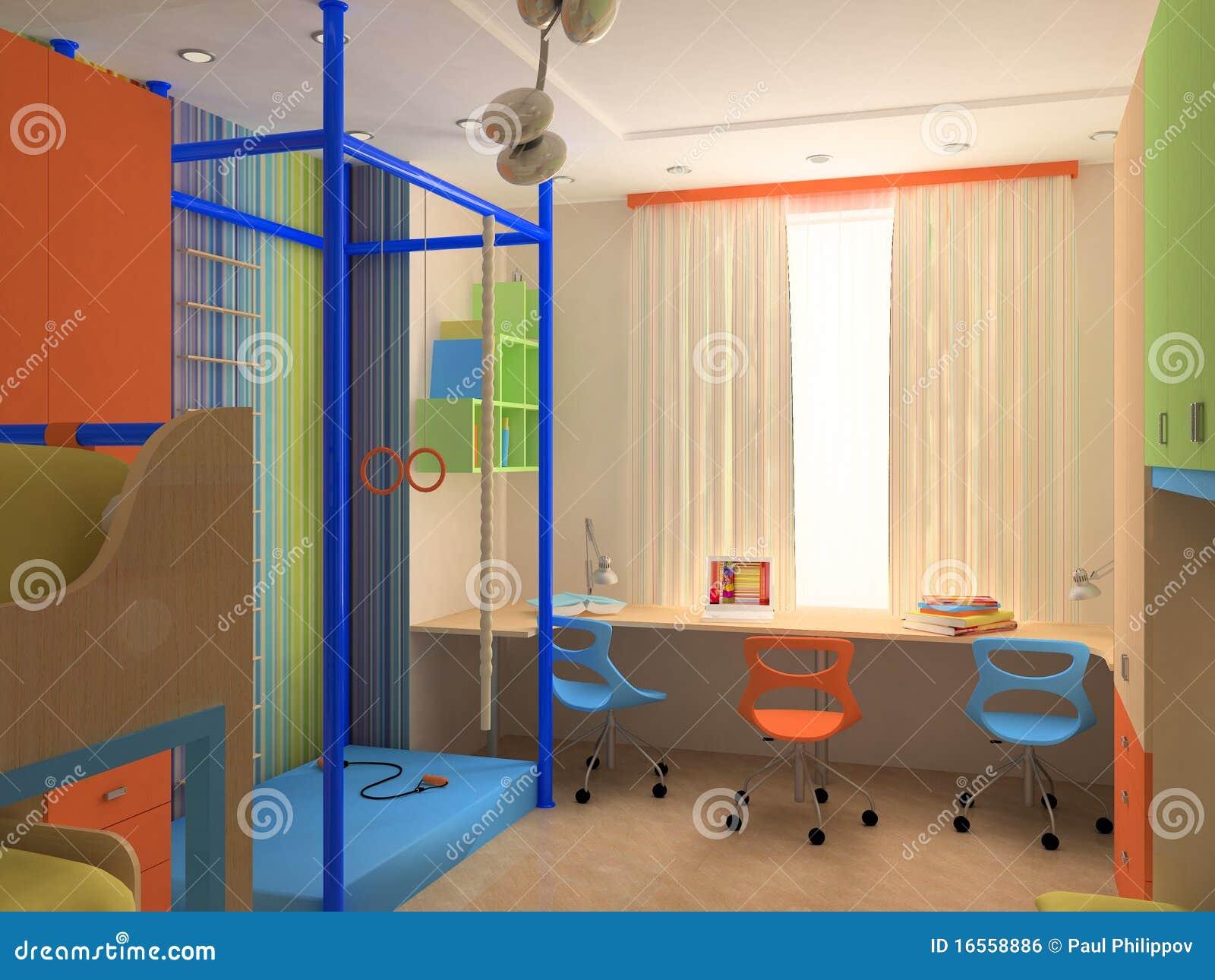 hoek van de slaapkamer van het kind s met kleurrijk meubilair