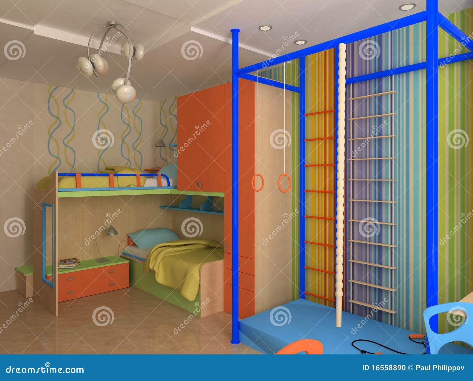 de slaapkamerbinnenland van het kind s met kleurrijk meubilair gymnastiek en bureau met laptop