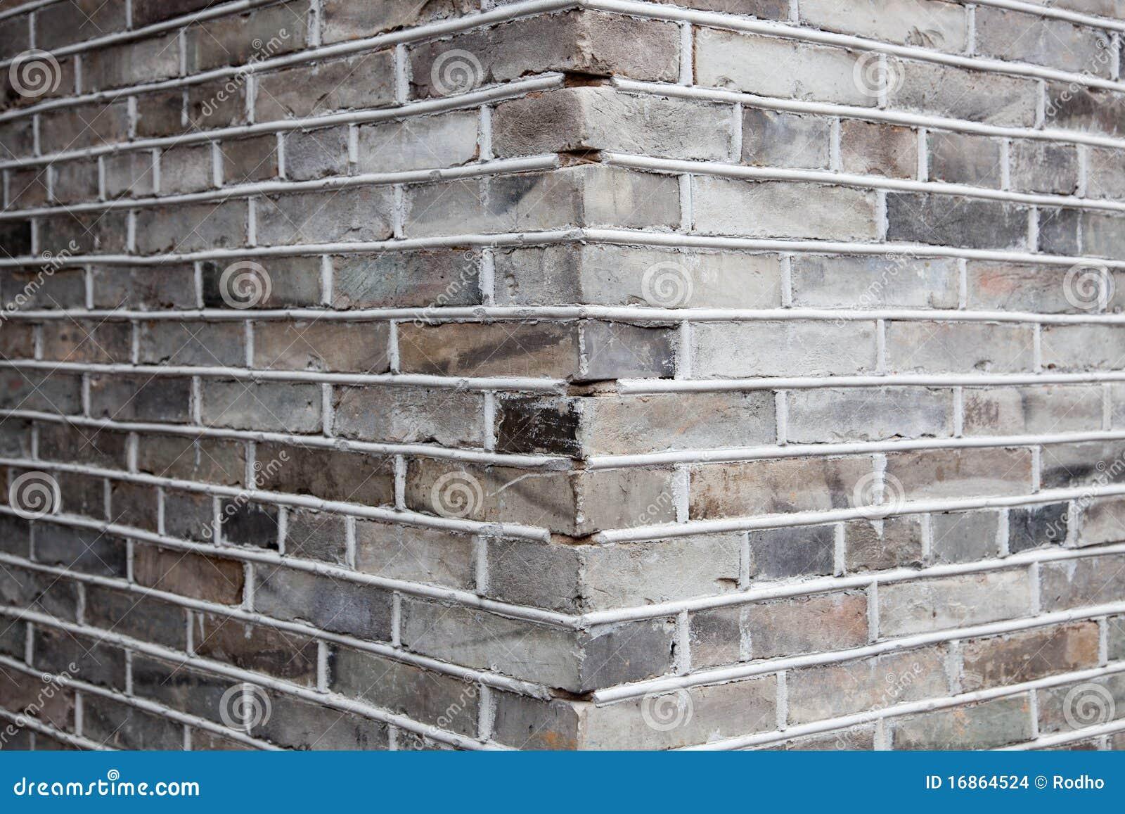 Hoek van grijze bakstenen muur stock afbeeldingen afbeelding 16864524 for Grijze muur