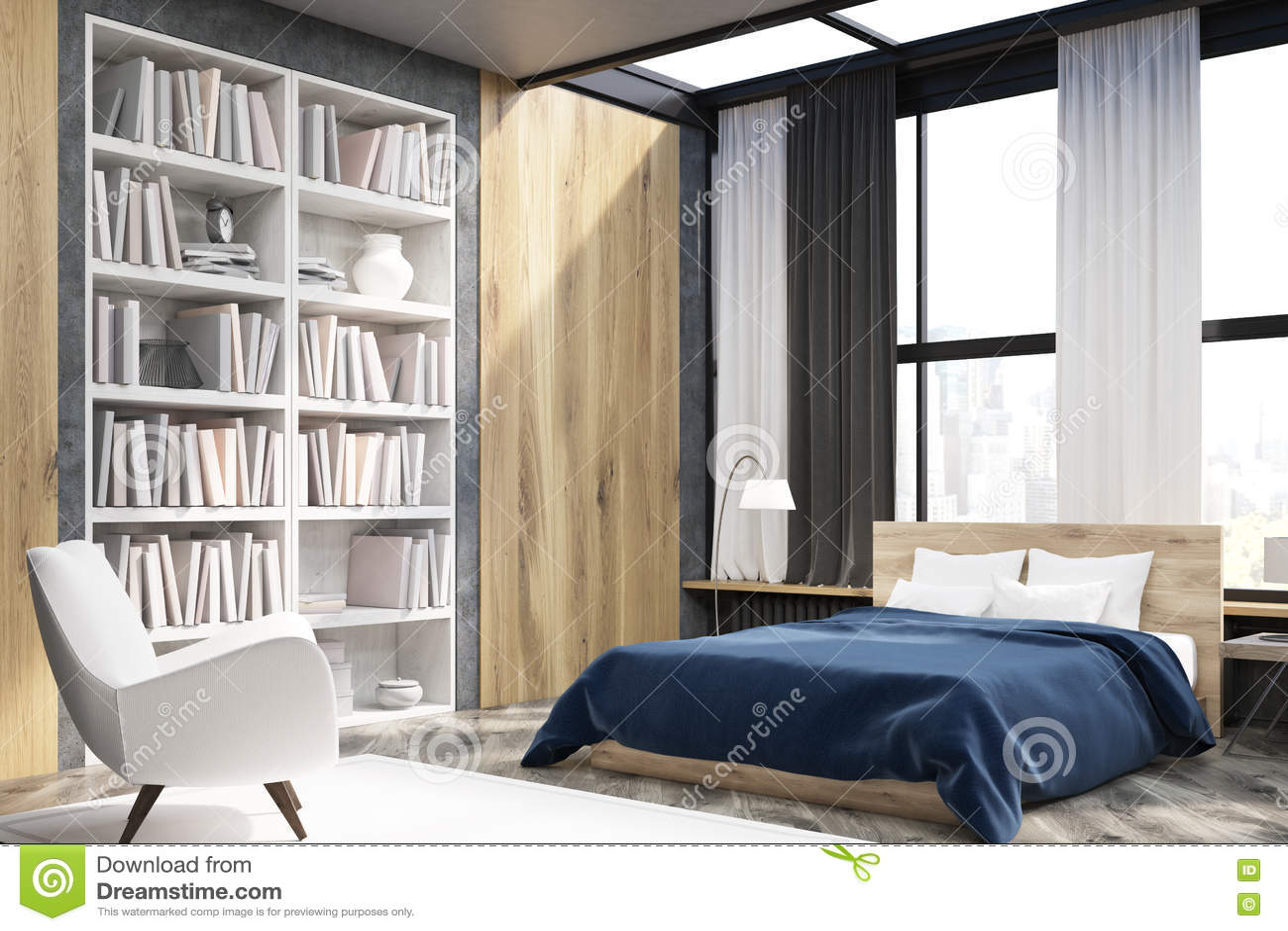 Hoek van slaapkamerbinnenland met boekenkast