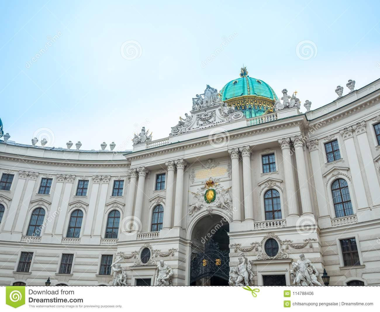 The Hofburg is the imperial palace in Heldenplatz square in the centre of Vienna, Austria. Almost famous destination tourist. The