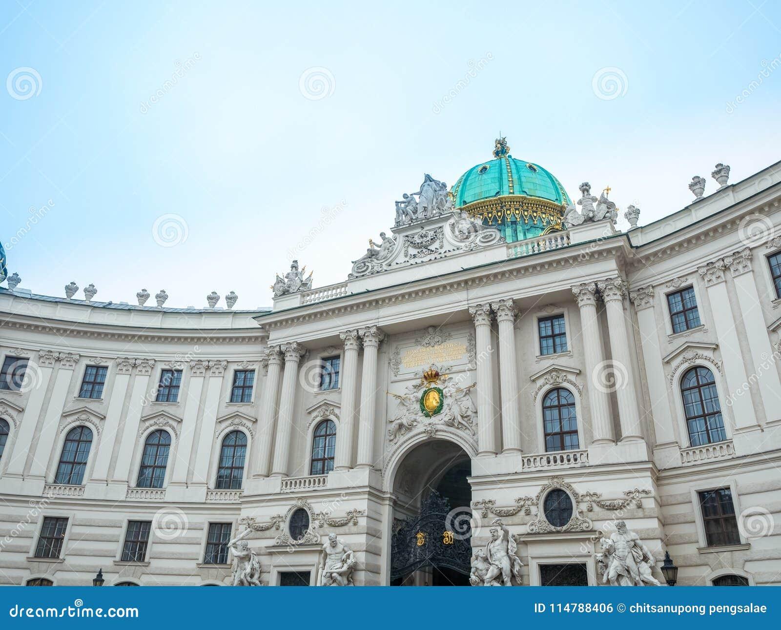 Hofburg jest cesarskim pałac w Heldenplatz kwadracie w centre Wiedeń, Austria Prawie sławny miejsce przeznaczenia turysta