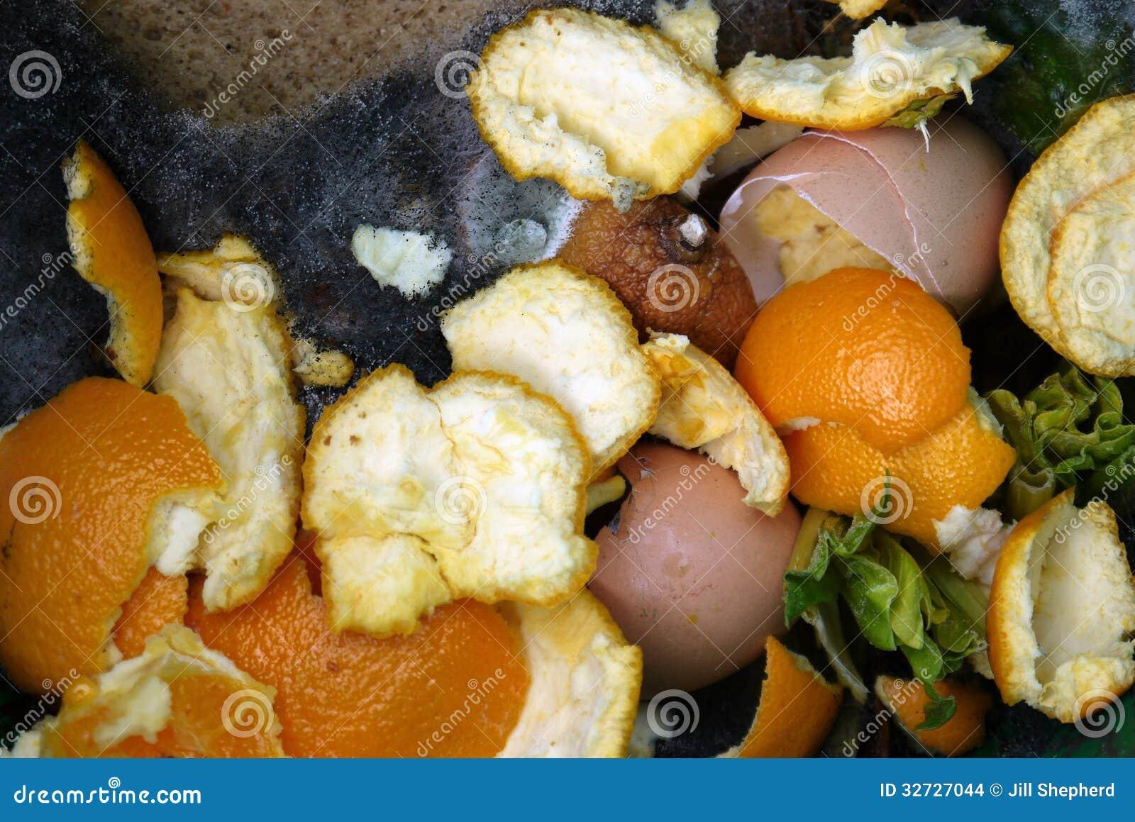 Hogar: cubo del estiércol vegetal con el detalle de descomposición de la comida