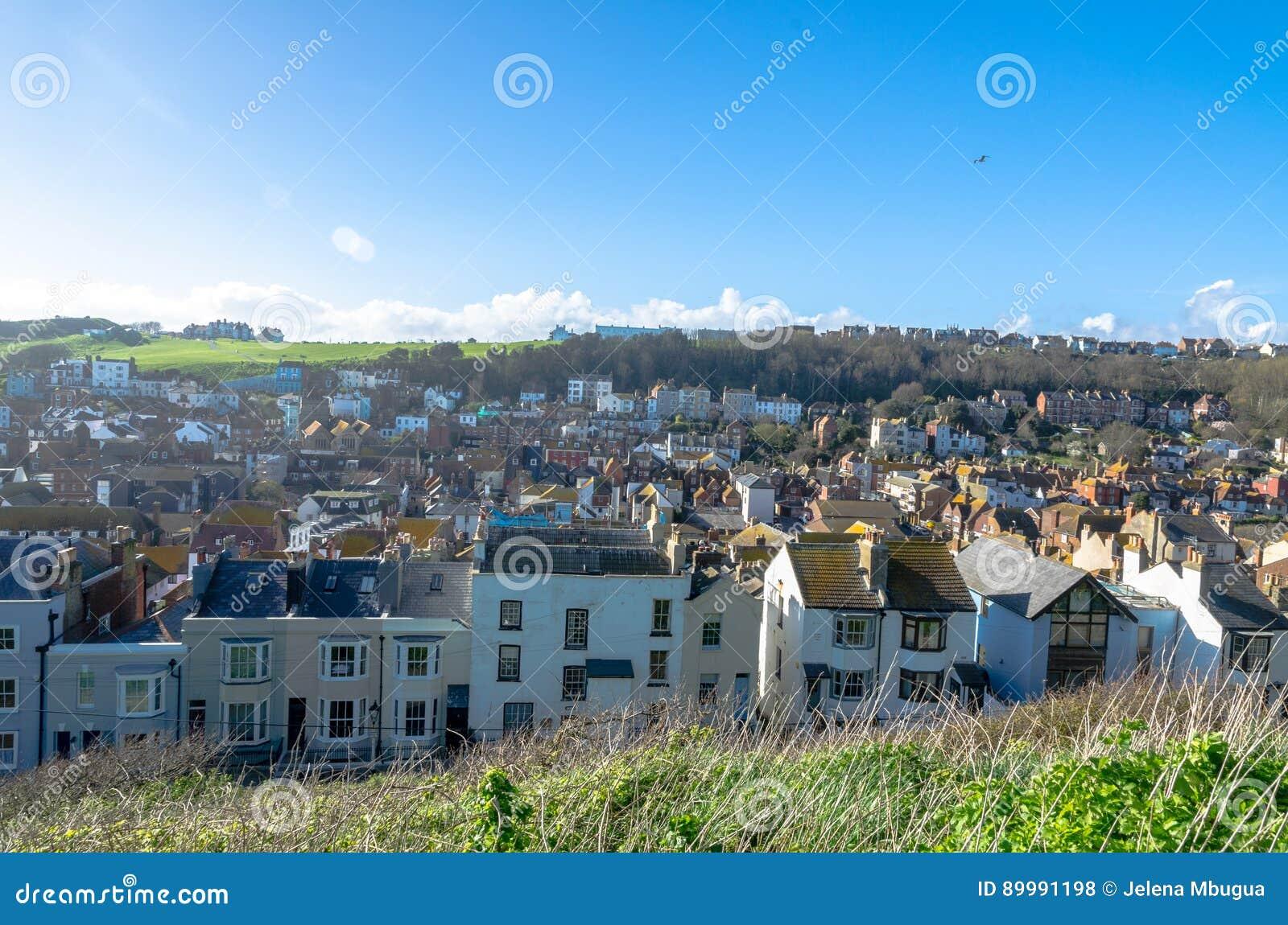 Hogares residenciales en Hastings, Sussex del este, en Inglaterra
