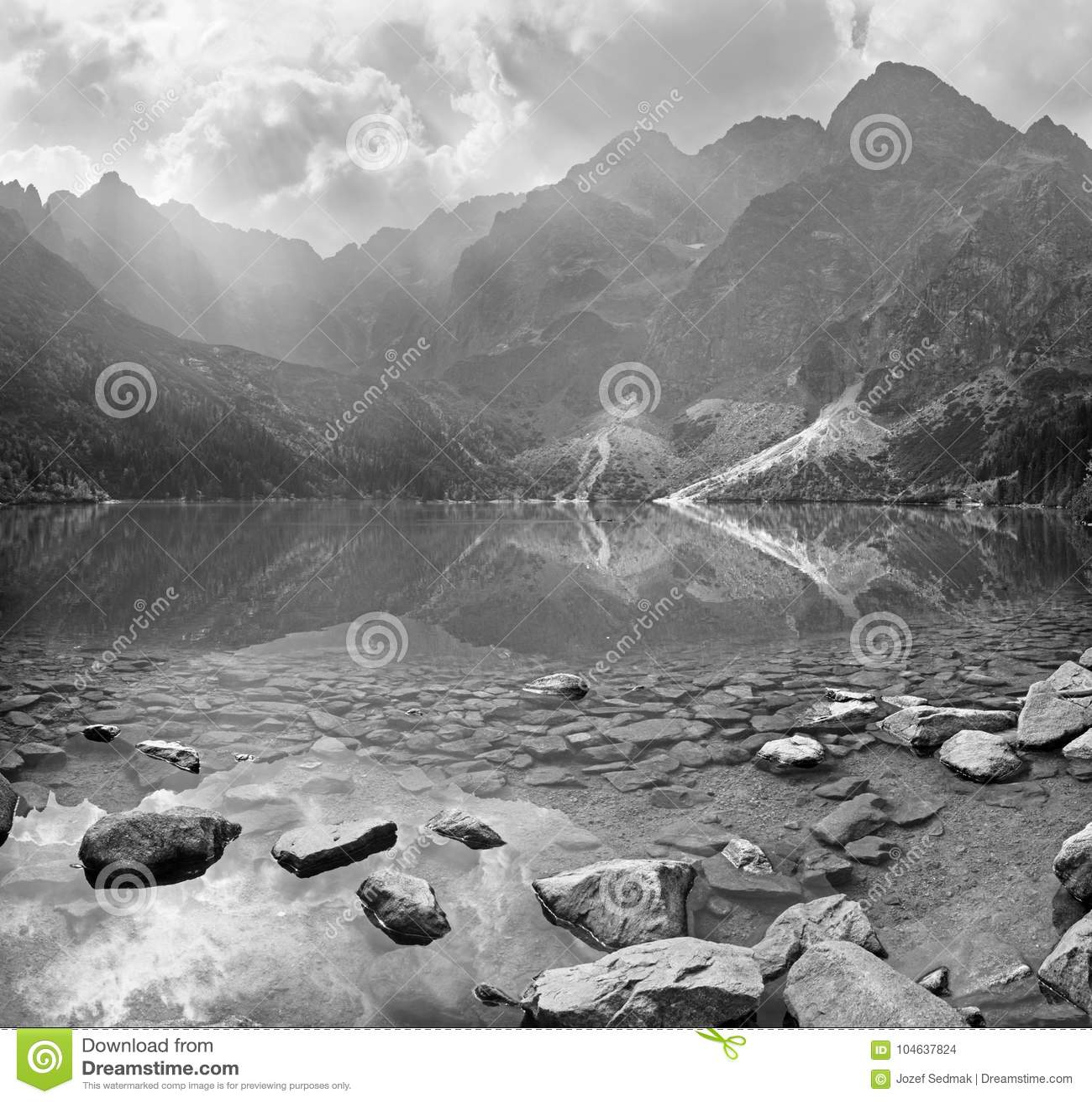 Download Hoge Tatras - Het Meer Morskie Oko En Rysy, Mengusovske En Andere Pieken Stock Foto - Afbeelding bestaande uit landschap, alpinisme: 104637824
