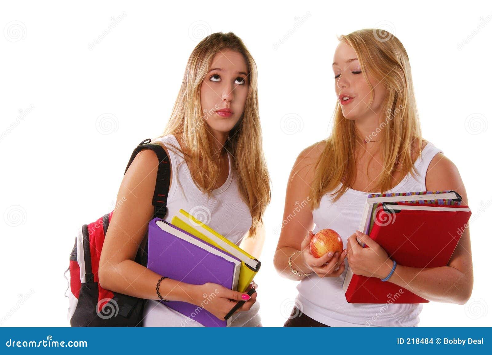 Hogere meisjes 2 van de middelbare school stock afbeeldingen afbeelding 218484 - Twee meisjes en een jongen ...