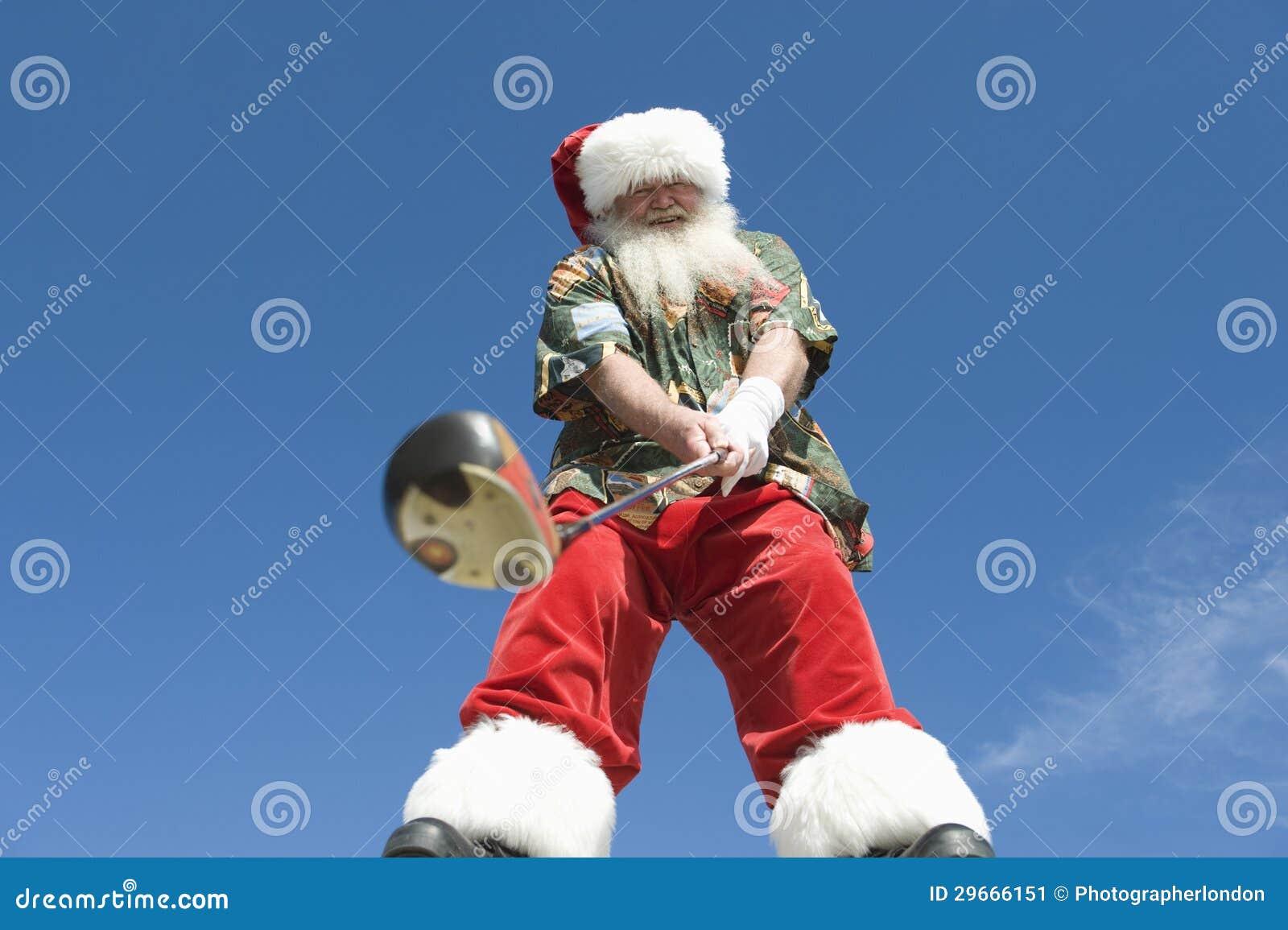 Hogere Santa Claus Holding Golf Club