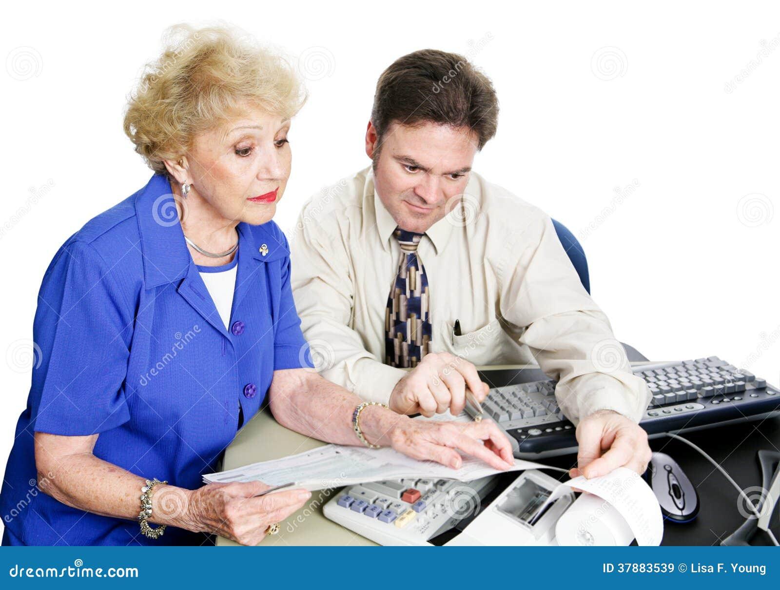 Hogere Woiman raadpleegt Accountant
