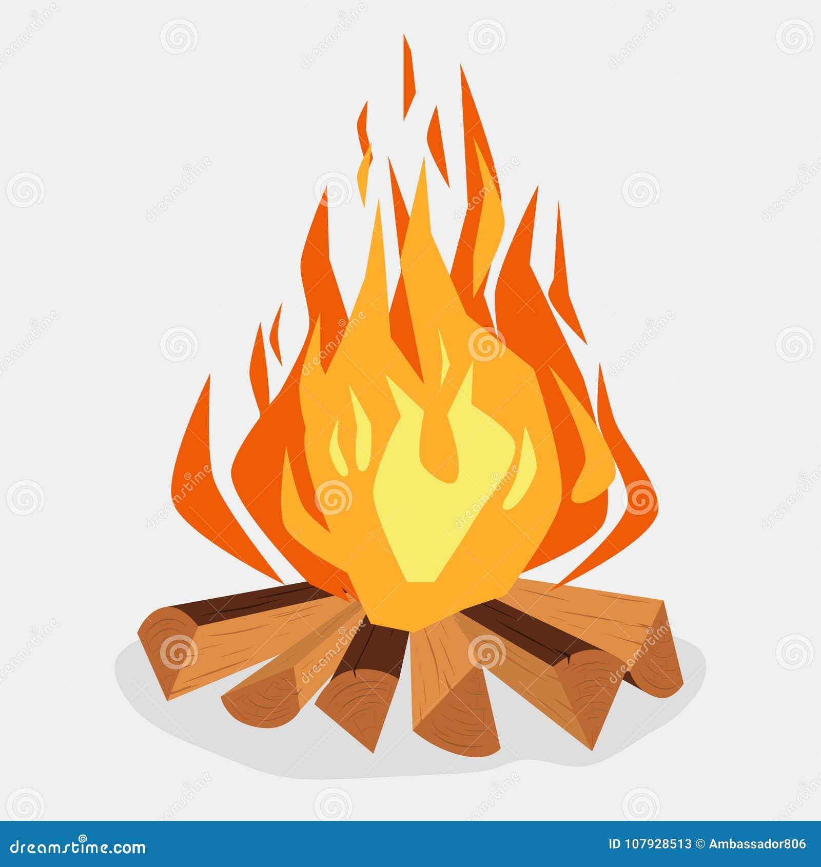 Hoguera - chimenea acampando, de la quema woodpile, hoguera o Vector