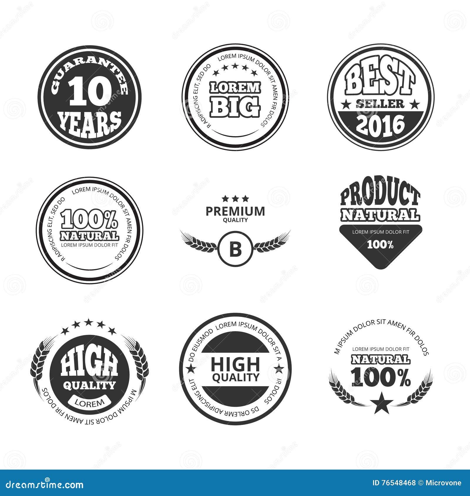 Hohe Qualität, Prämie, Garantieweinlesevektorwachssiegelaufkleber, -ausweise und -logos