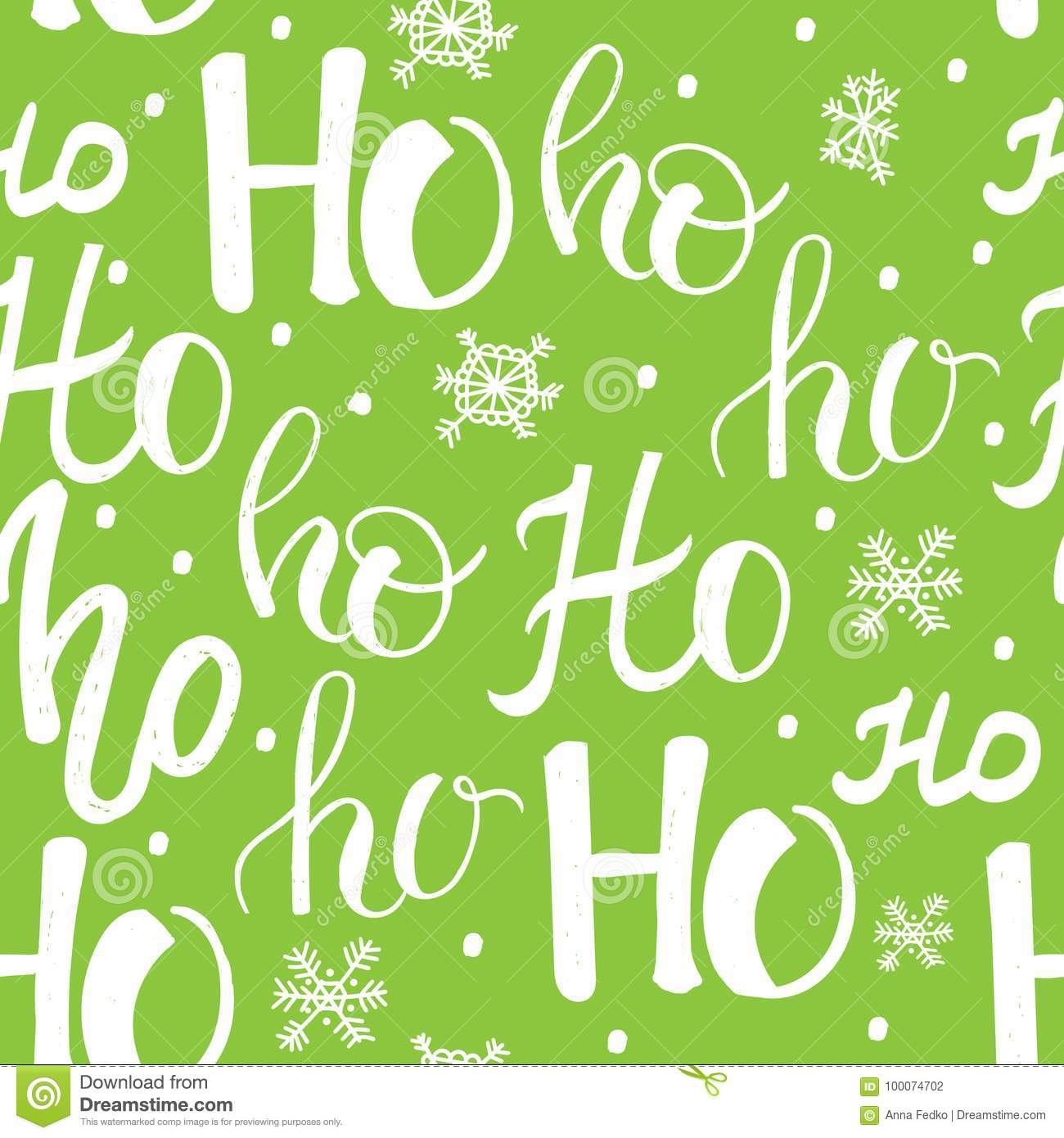 Hohoho pattern, Santa Claus laugh. Seamless texture for Christmas design. Vector green background with handwritten words