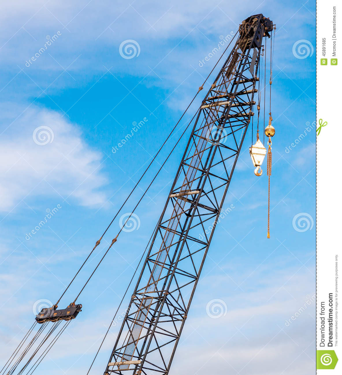 Pulleys In Cranes : The hoisting crane with pulley and hook in construction